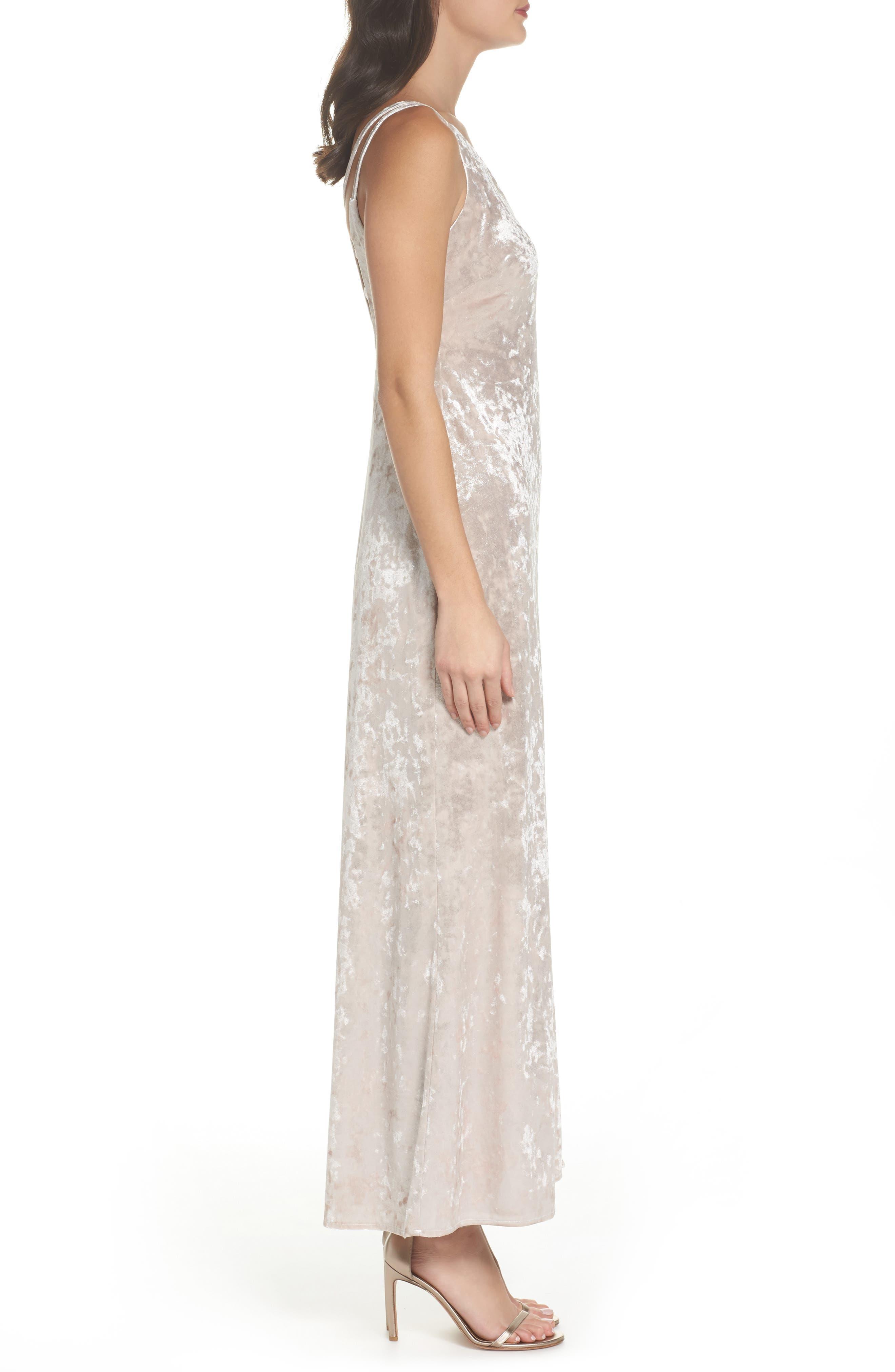 Strappy Velvet Gown,                             Alternate thumbnail 3, color,                             273