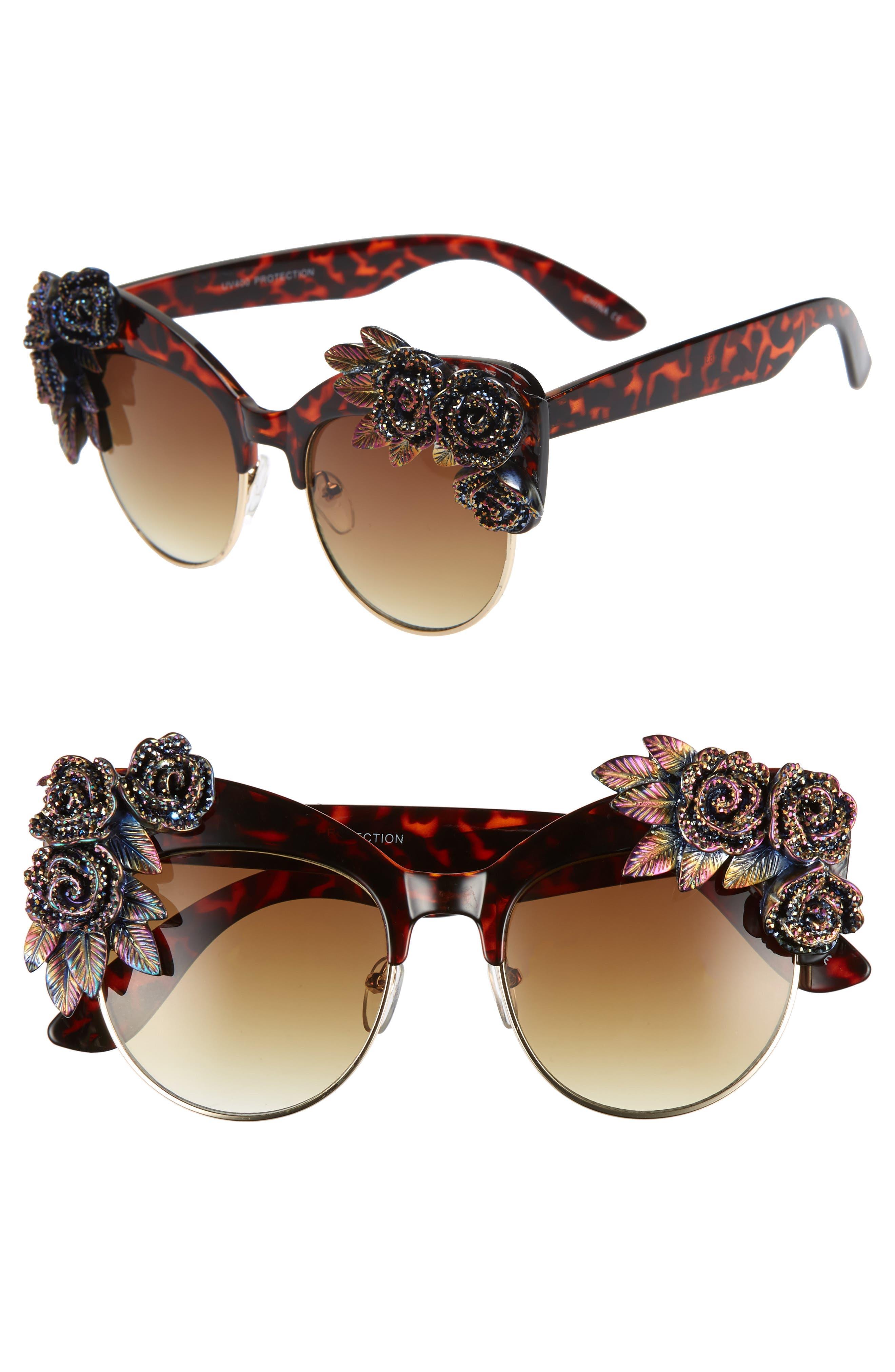 Rad + Refined Flower Cat Eye Sunglasses - Tort/ Multi