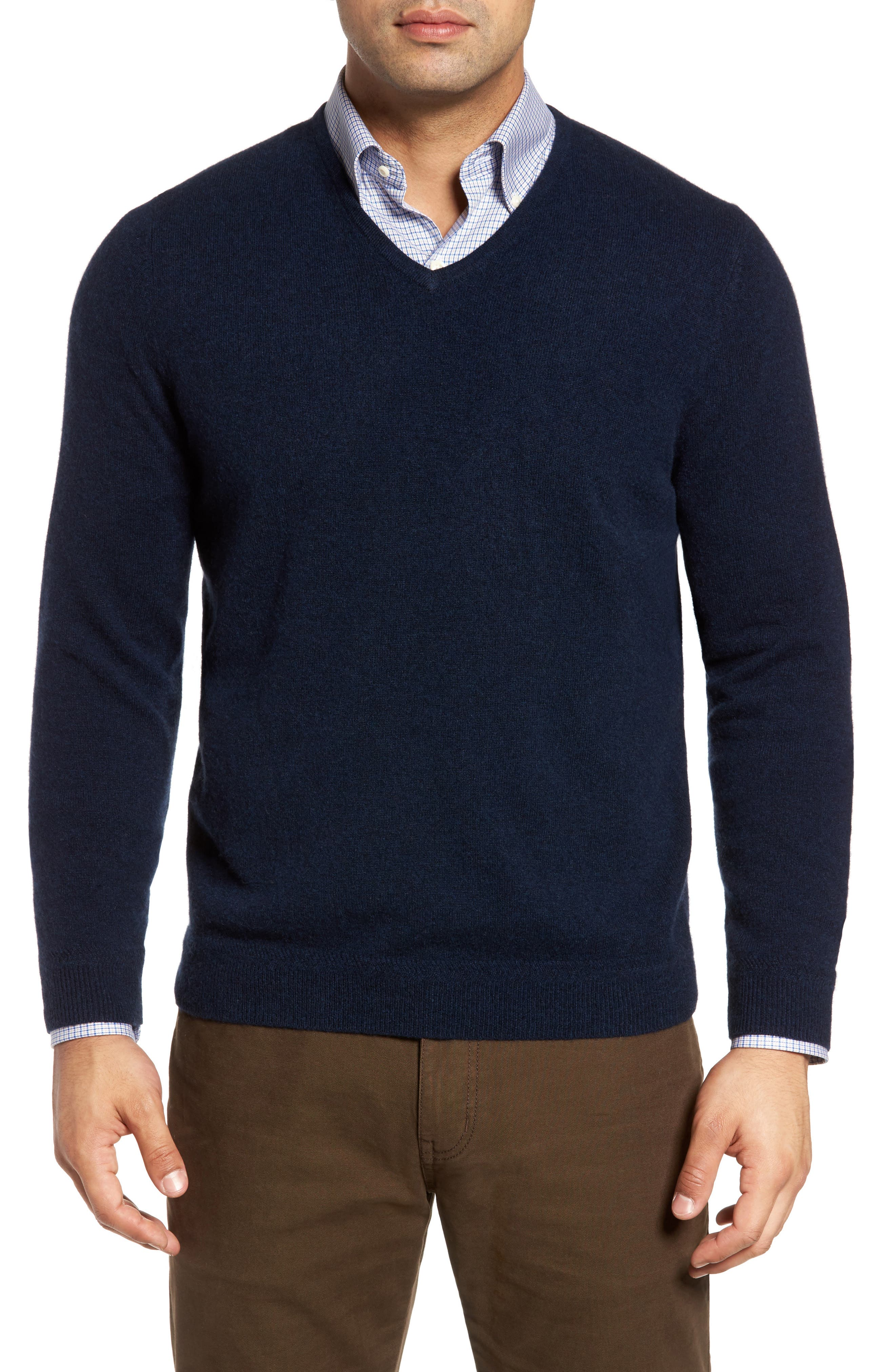 John W. Nordstrom Cashmere V-Neck Sweater,                             Alternate thumbnail 2, color,                             BLUE ESTATE HEATHER
