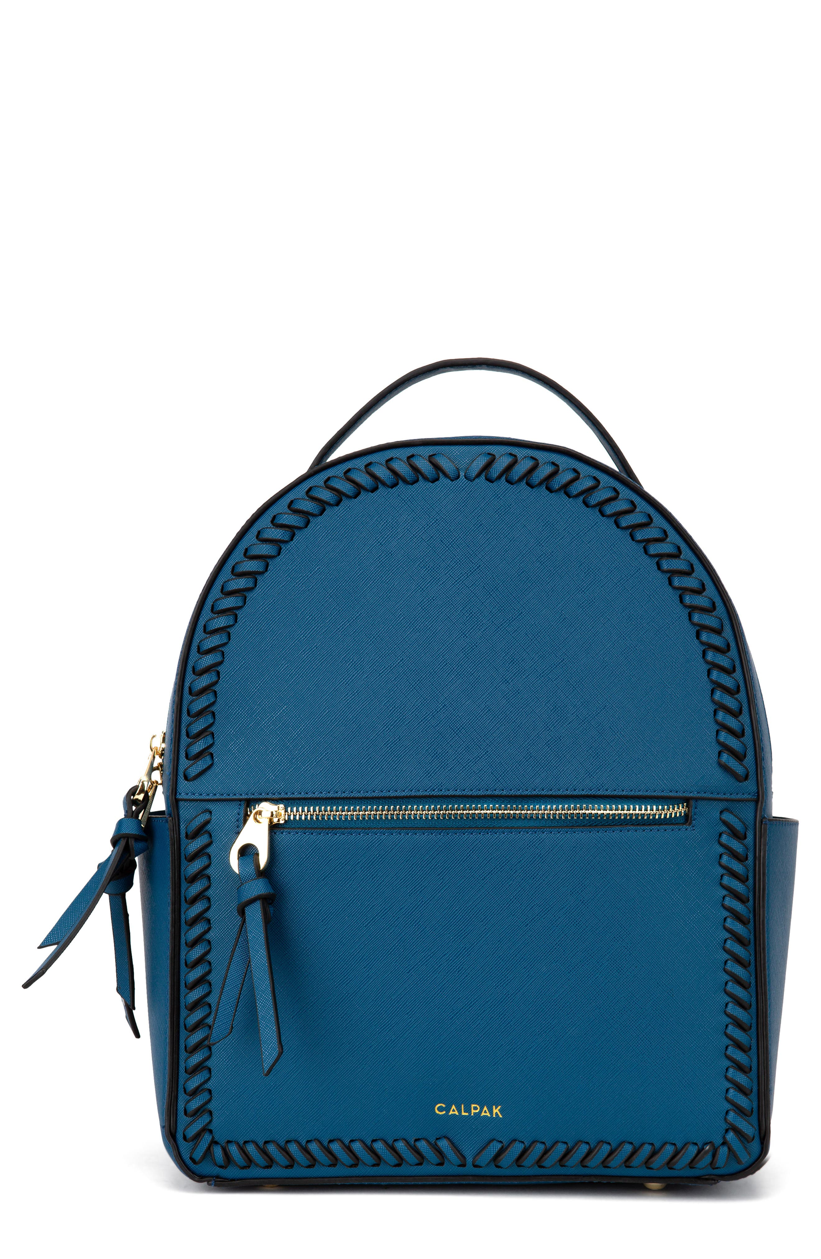 CALPAK Kaya Faux Leather Round Backpack - Blue in Deep Blue