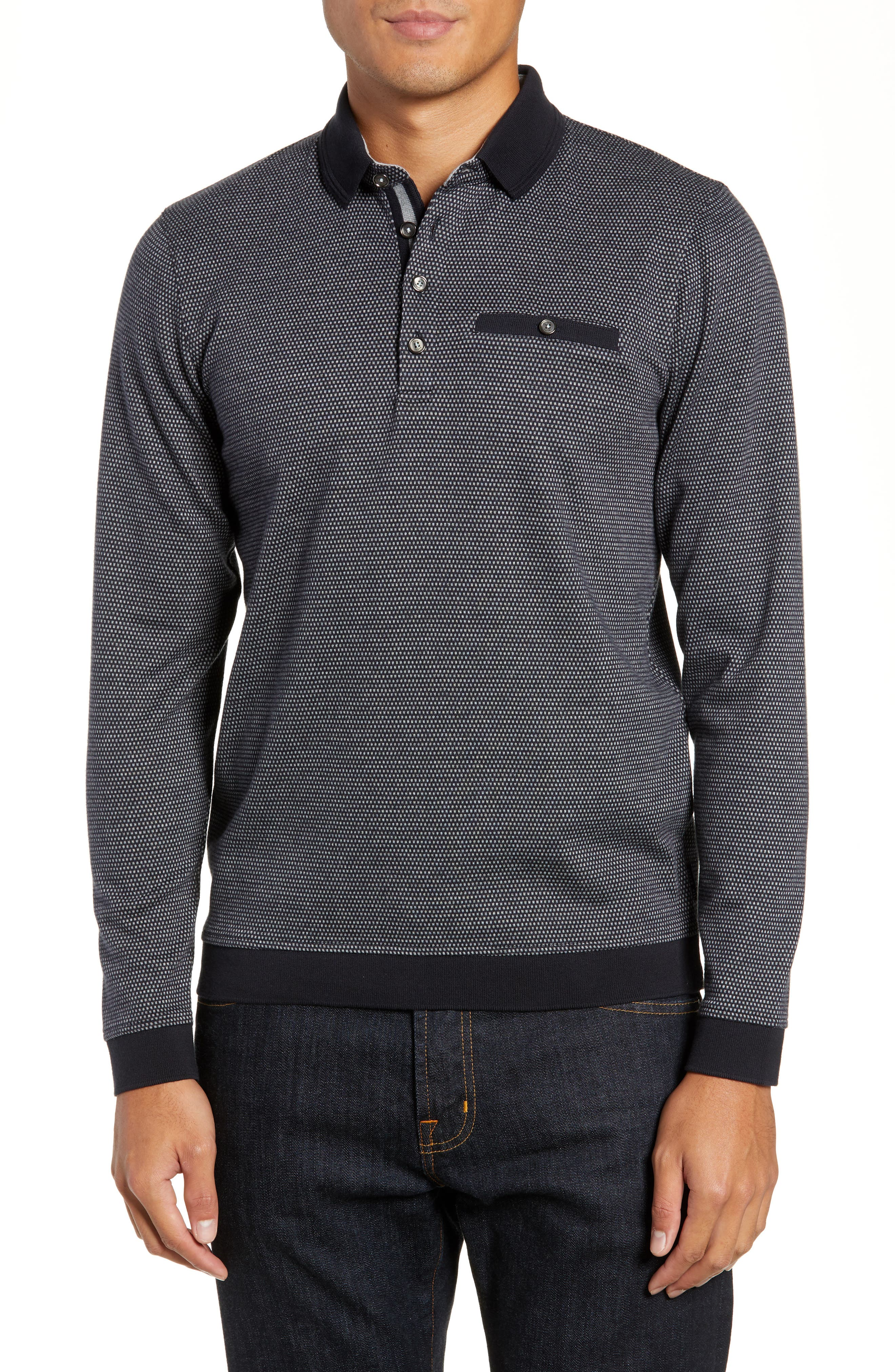 Meal Jacquard Slim Fit Polo,                         Main,                         color, CHARCOAL