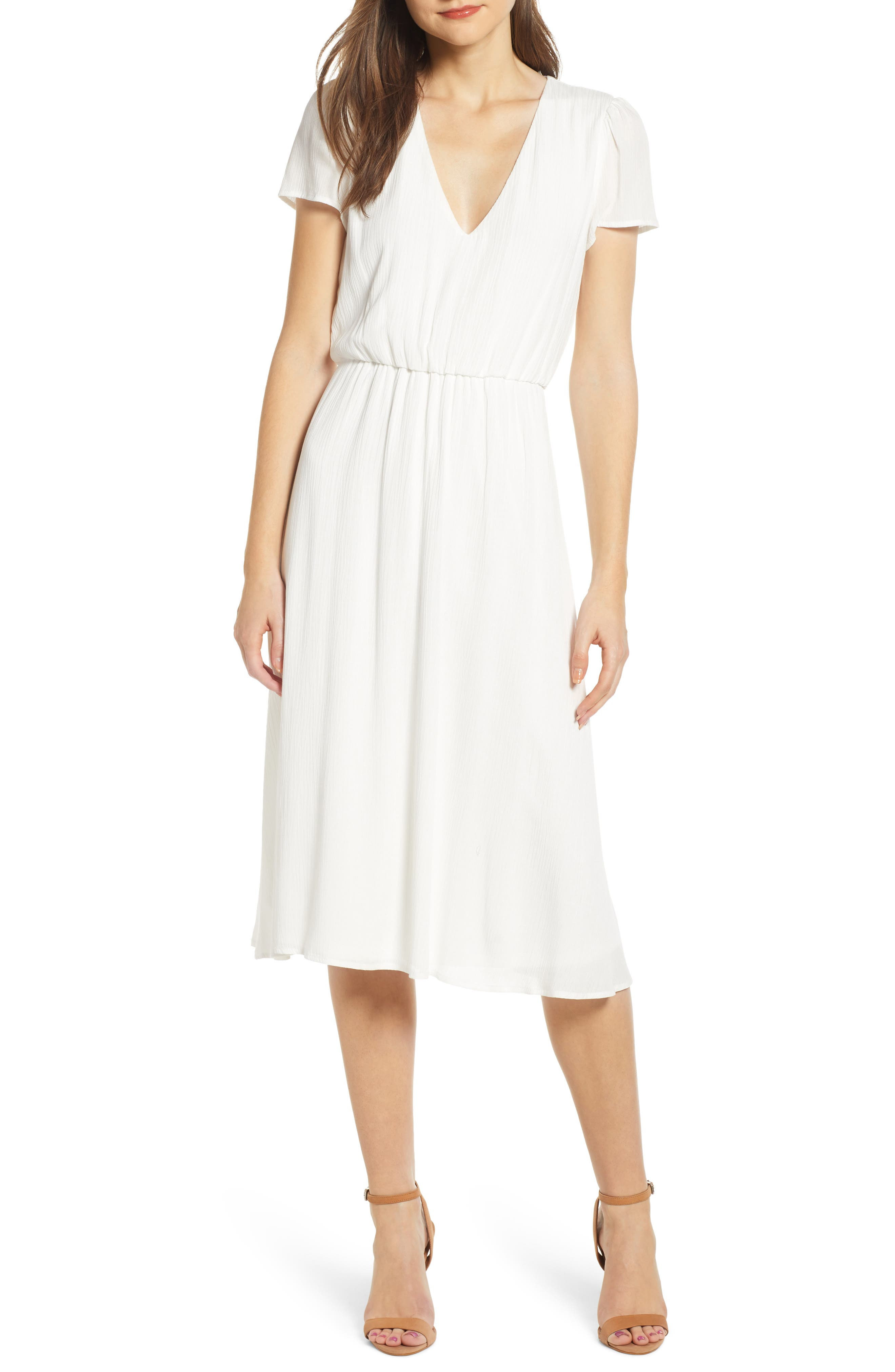 WAYF,                             Blouson Midi Dress,                             Main thumbnail 1, color,                             WHITE