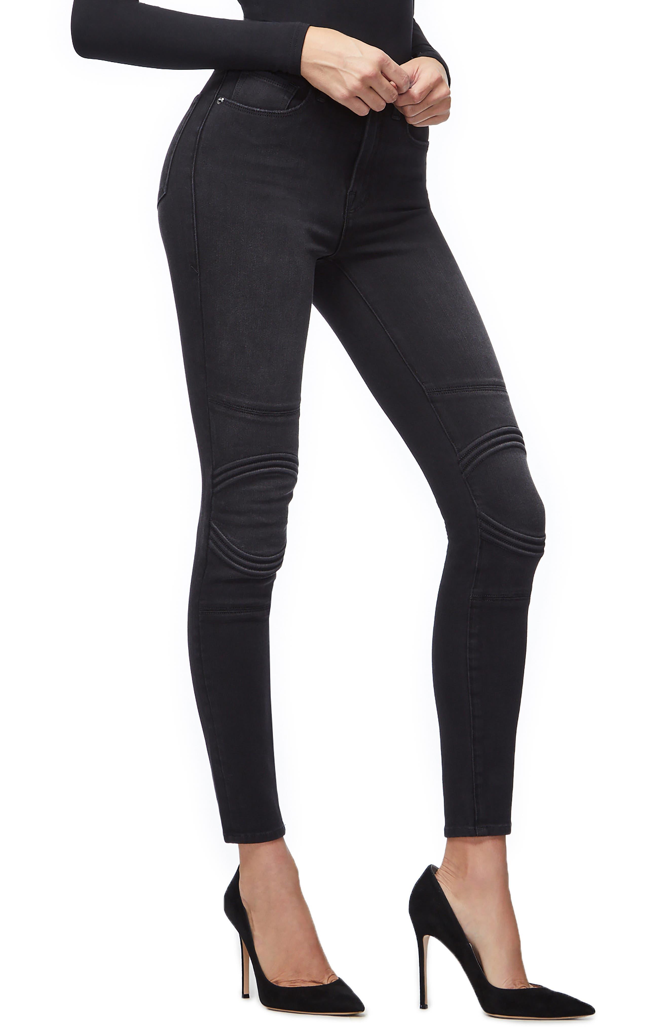 Good Waist Corded High Waist Skinny Jeans,                             Alternate thumbnail 3, color,                             BLACK040