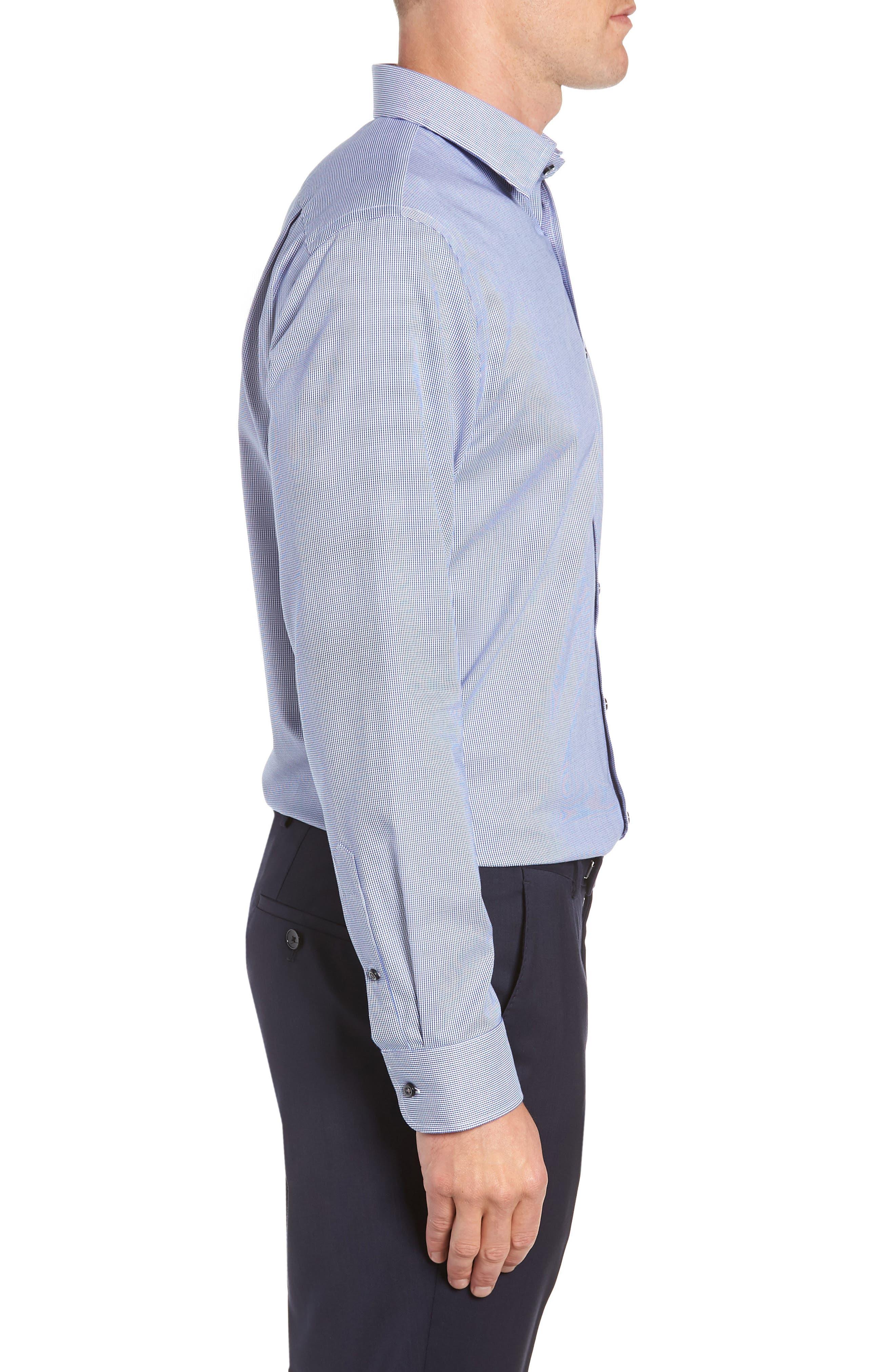 Trim Fit Non-Iron Solid Dress Shirt,                             Alternate thumbnail 4, color,                             NAVY DRESS