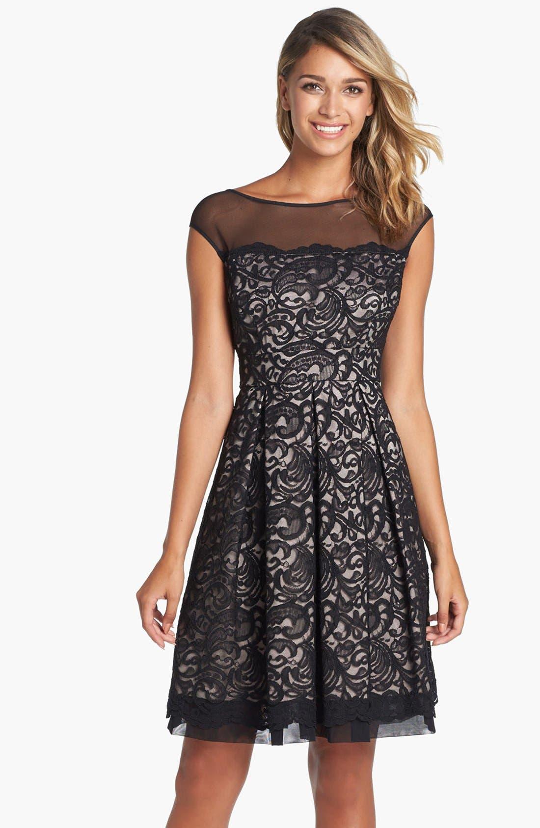 Illusion Yoke Lace Fit & Flare Dress, Main, color, 001