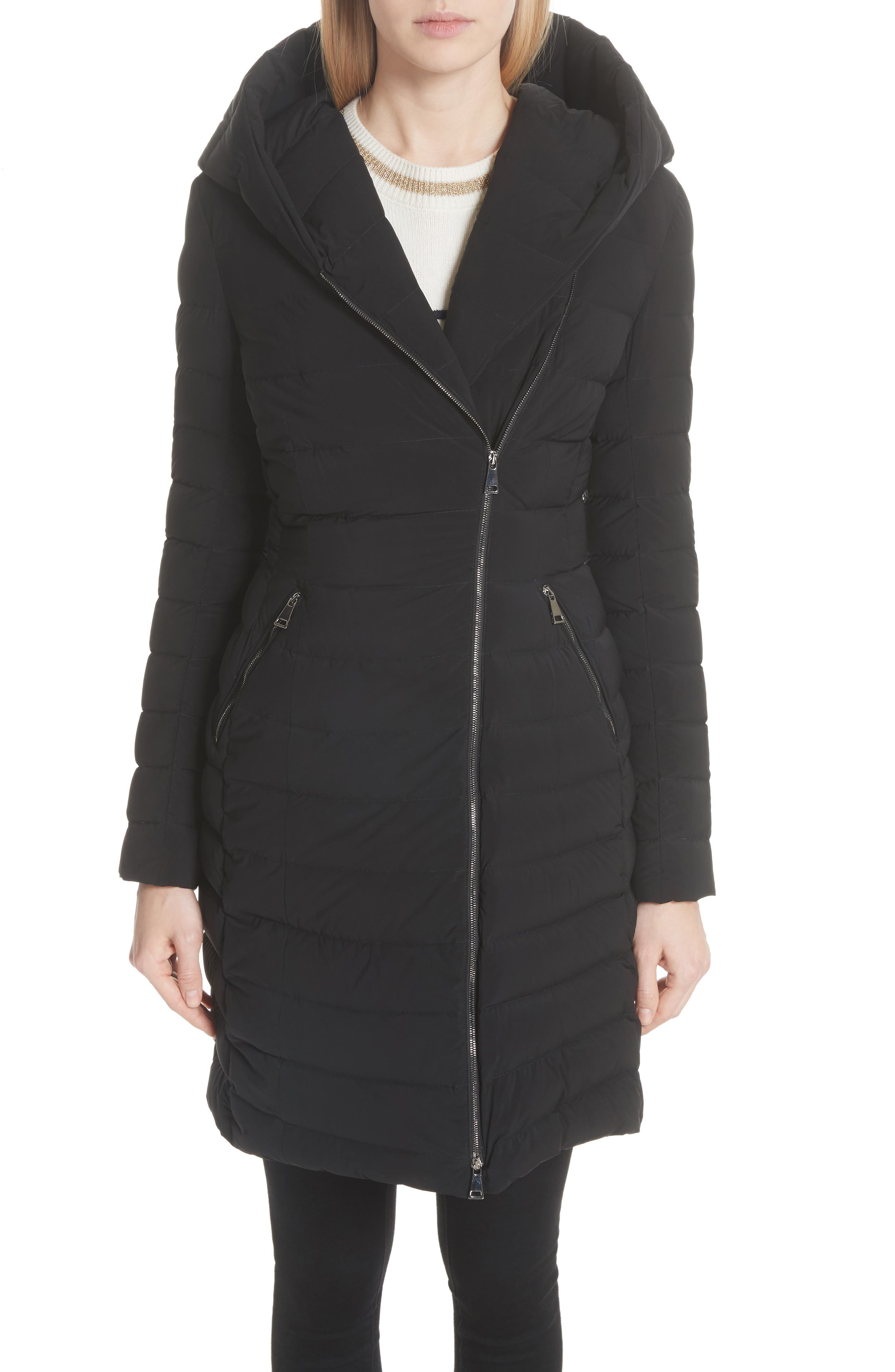 Barge Quilted Down Coat,                         Main,                         color, BLACK