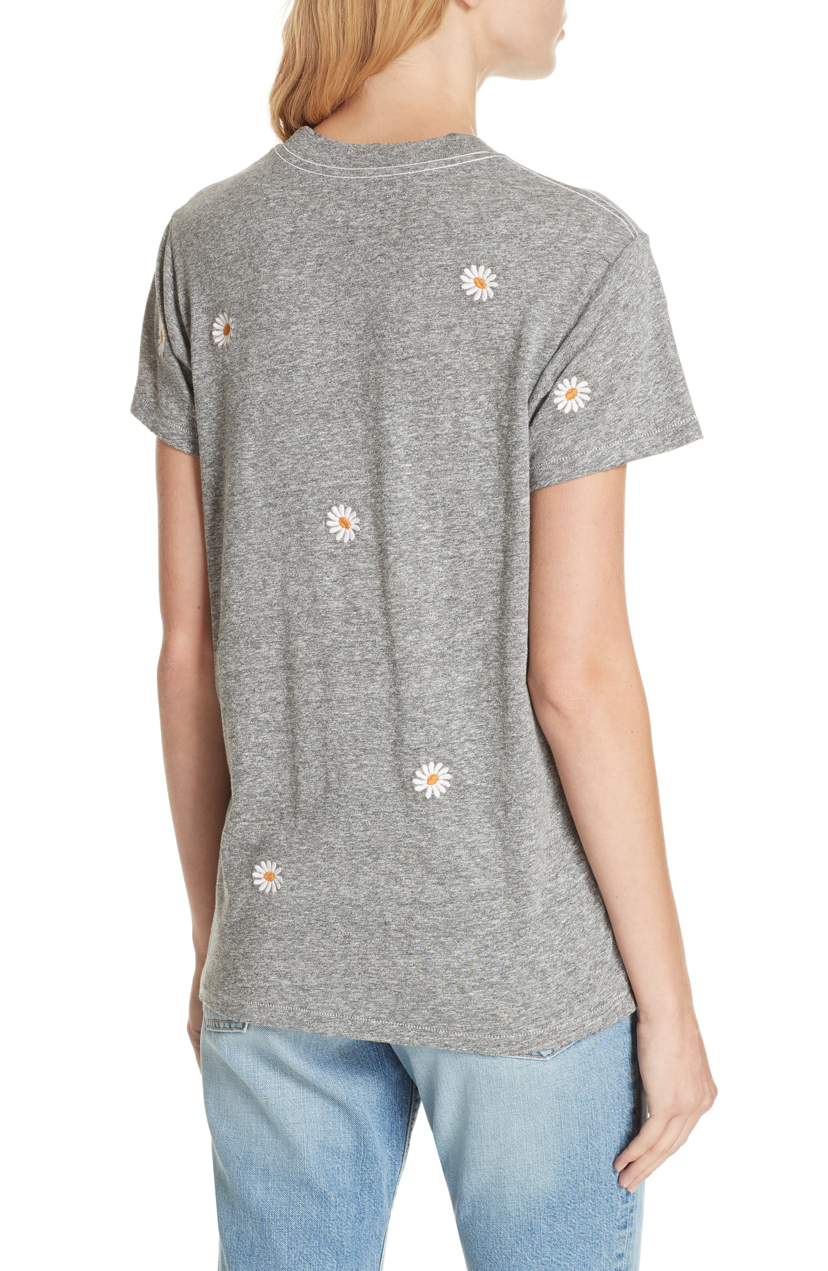 The Embroidered Slim Tee,                             Alternate thumbnail 2, color,                             HEATHER GREY W/ DAISY EMB
