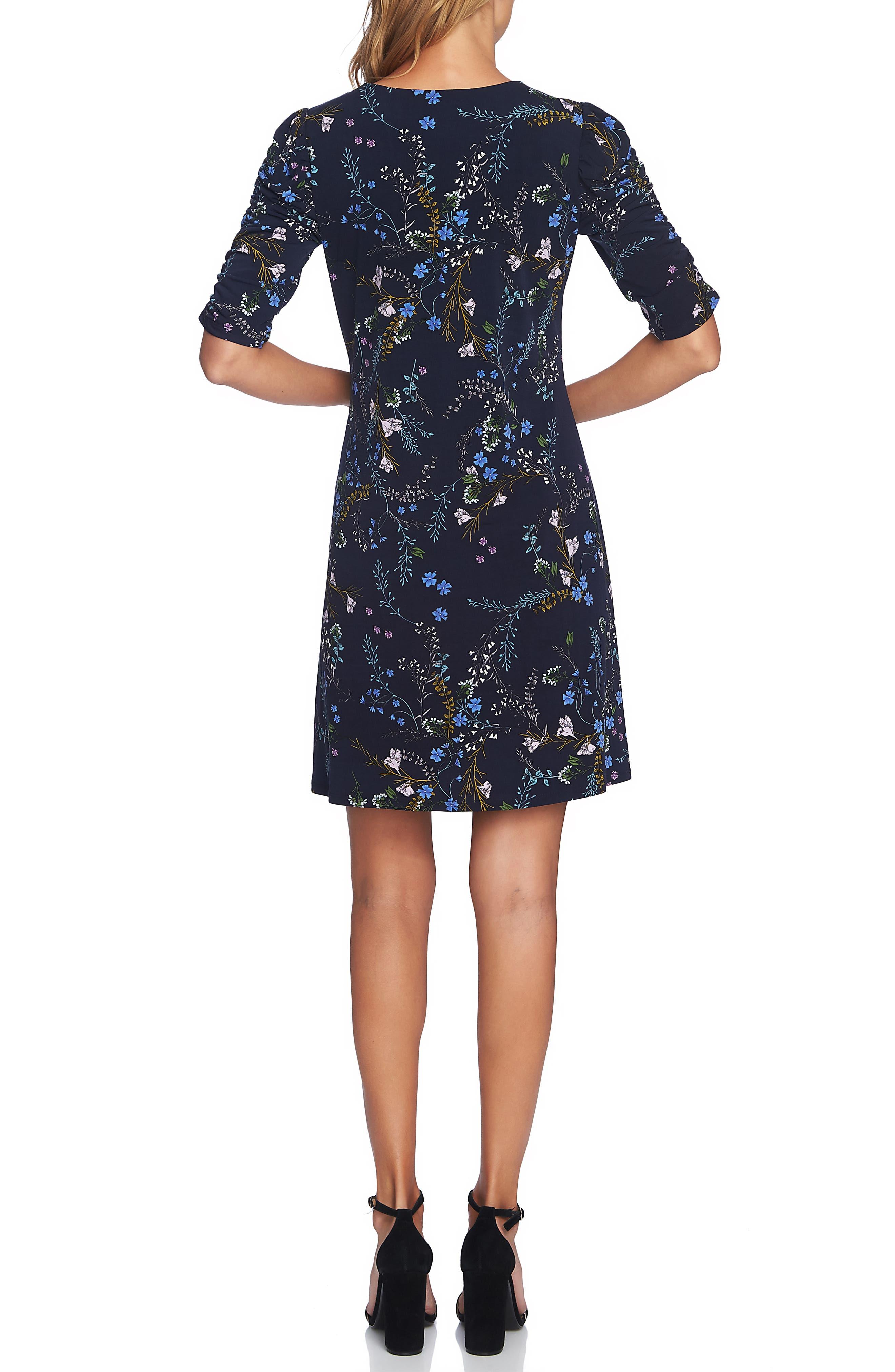 Ruched Sleeve Floral Vine Dress,                             Alternate thumbnail 2, color,                             CAVIAR