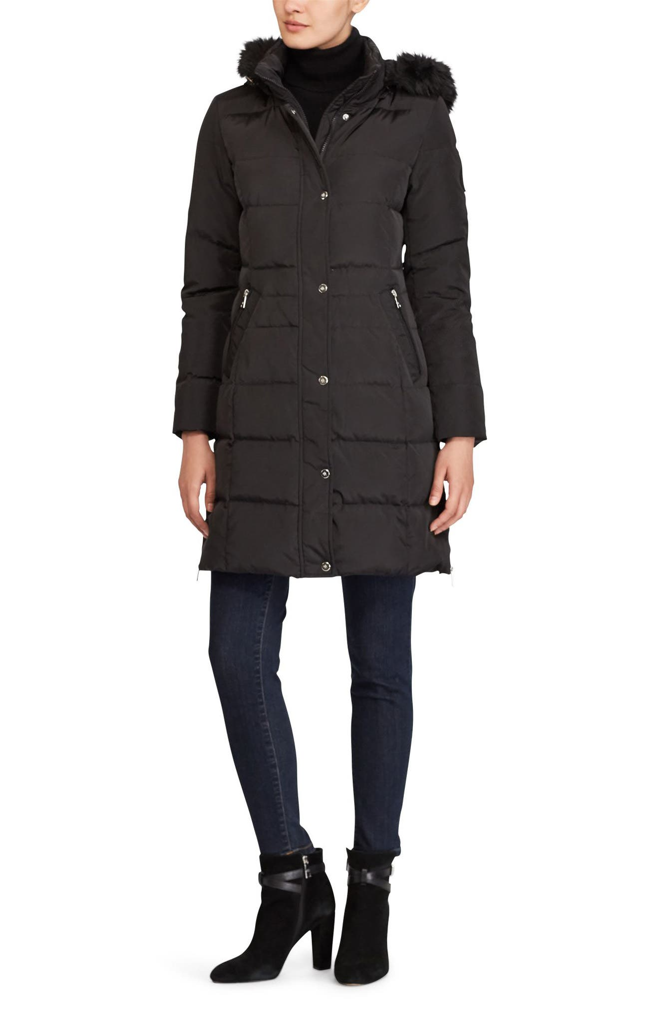 Quilted Parka with Faux Fur,                             Alternate thumbnail 3, color,                             001