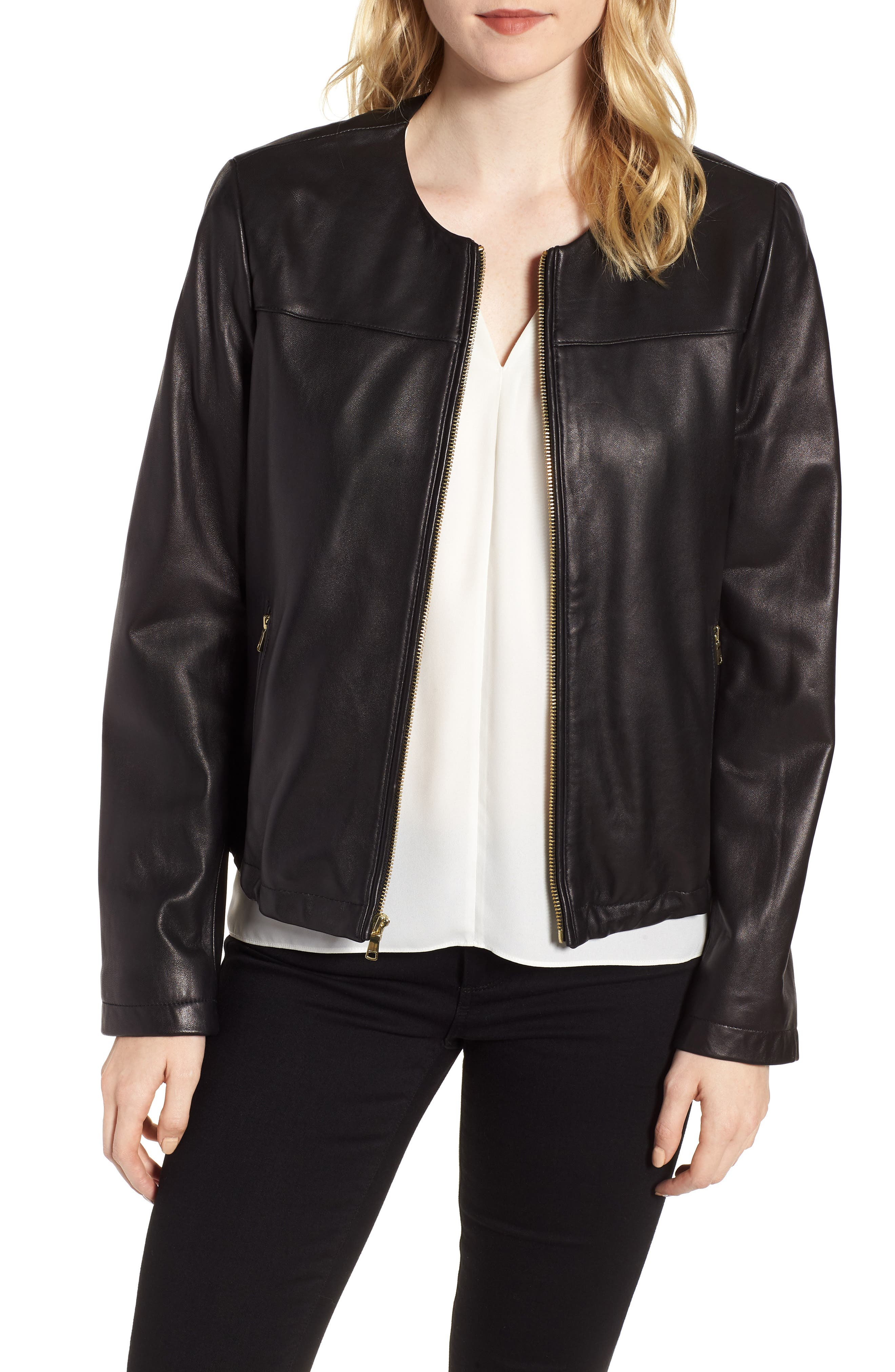 Lambskin Leather Jacket,                         Main,                         color, 001