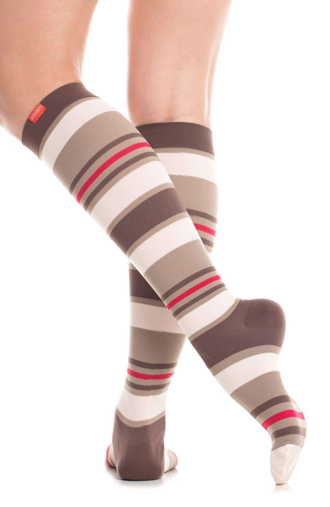 'Fun Stripe' Graduated Compression Trouser Socks,                             Alternate thumbnail 3, color,                             211
