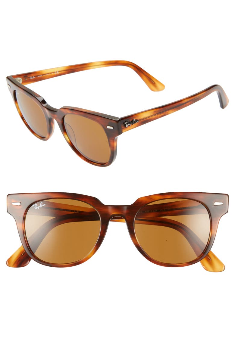 ce1e5f18ff4 Ray Ban Men s Square Acetate Sunglasses With Solid Lenses In Striped Havana