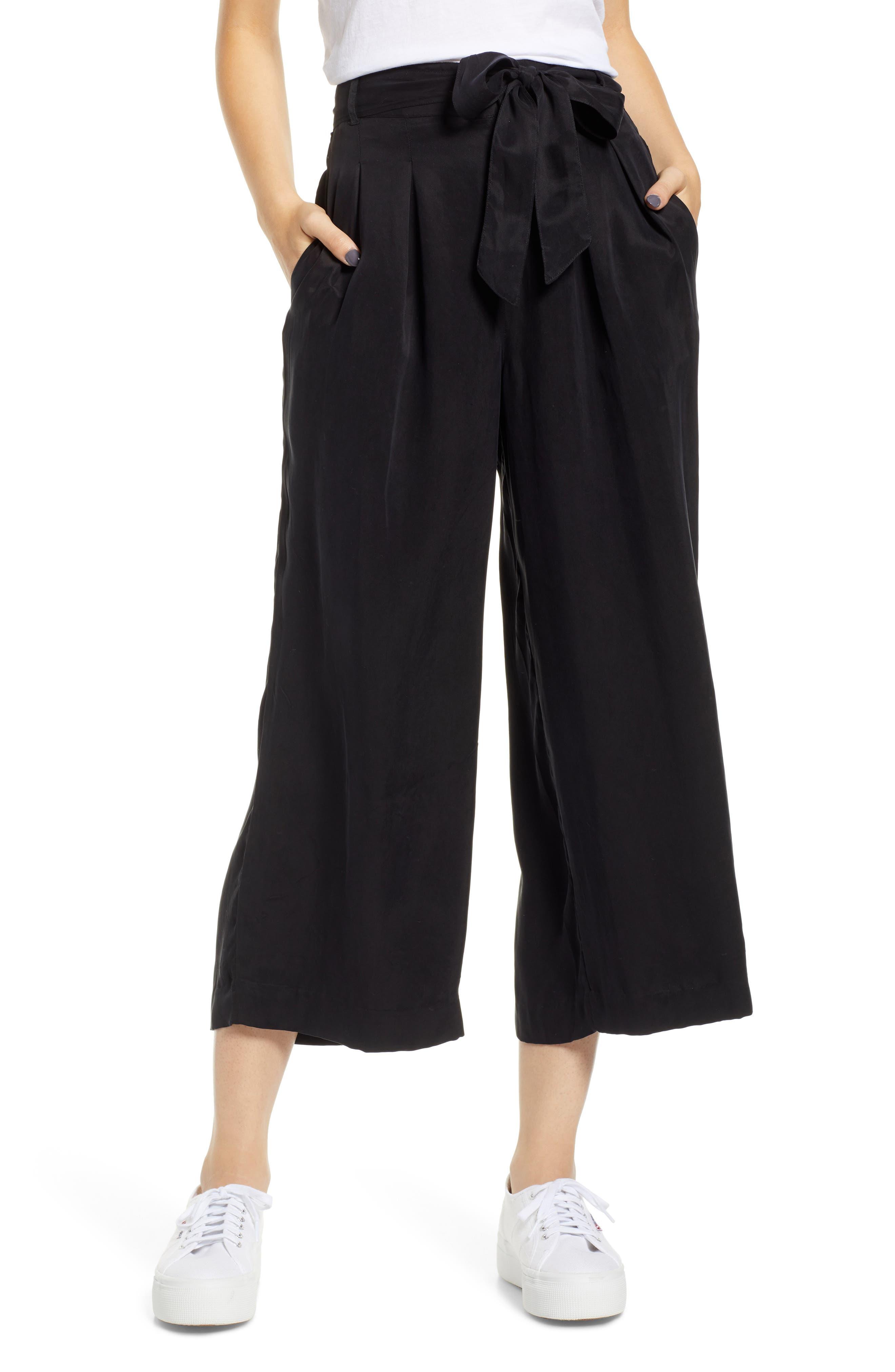 Jenna Cupro Wide Leg Pants,                         Main,                         color, BLACK