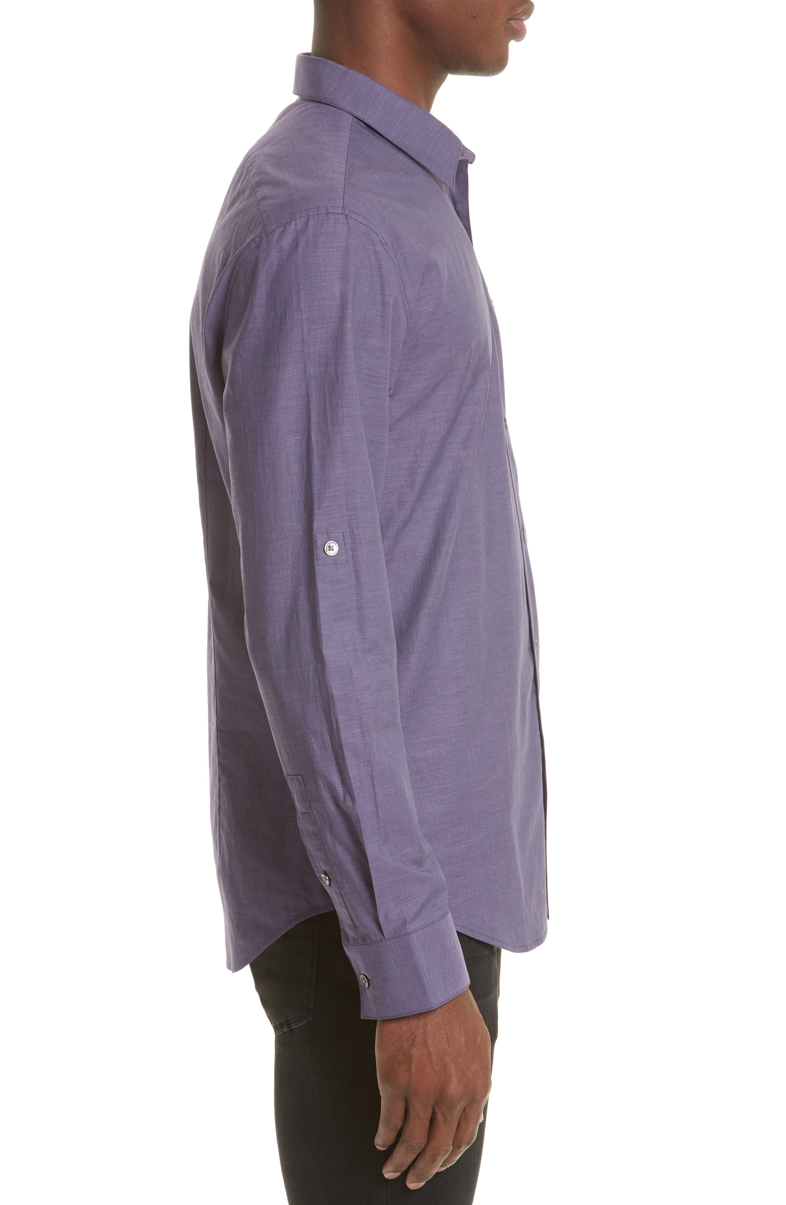 Roll Sleeve Cotton Sport Shirt,                             Alternate thumbnail 4, color,                             501