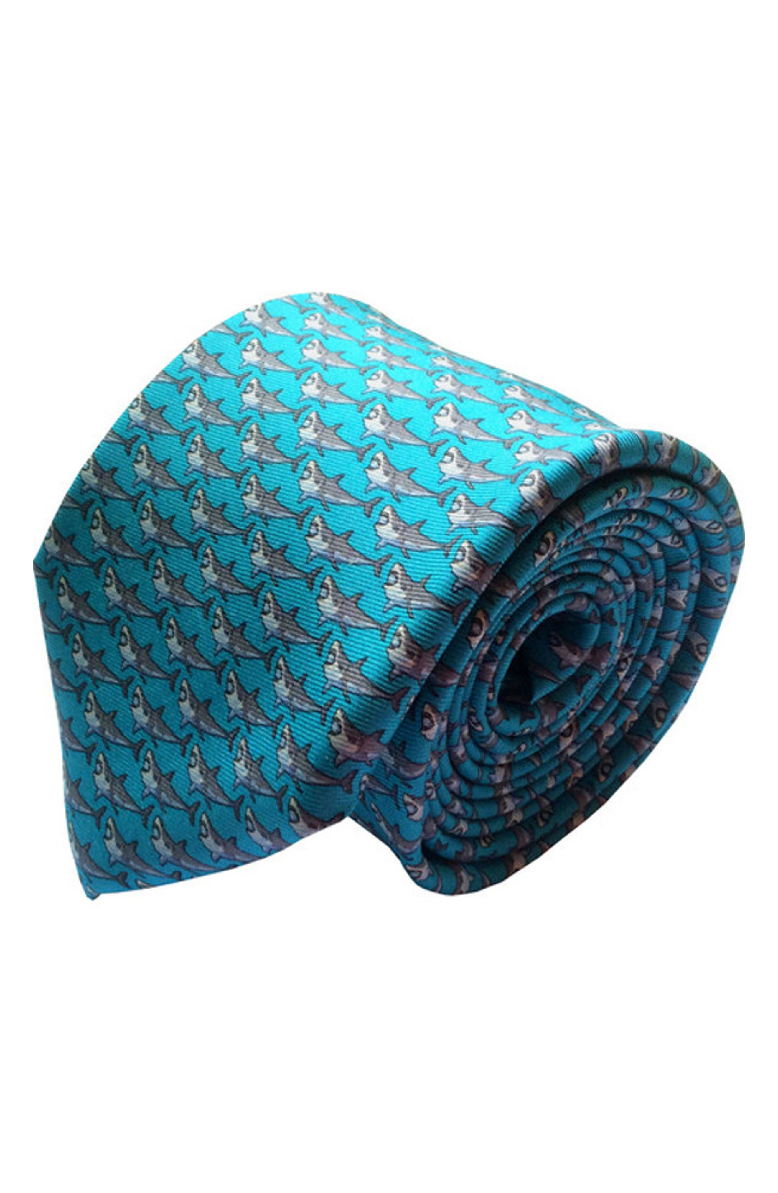 Shark Week Silk Tie,                             Main thumbnail 1, color,                             TURQUOISE