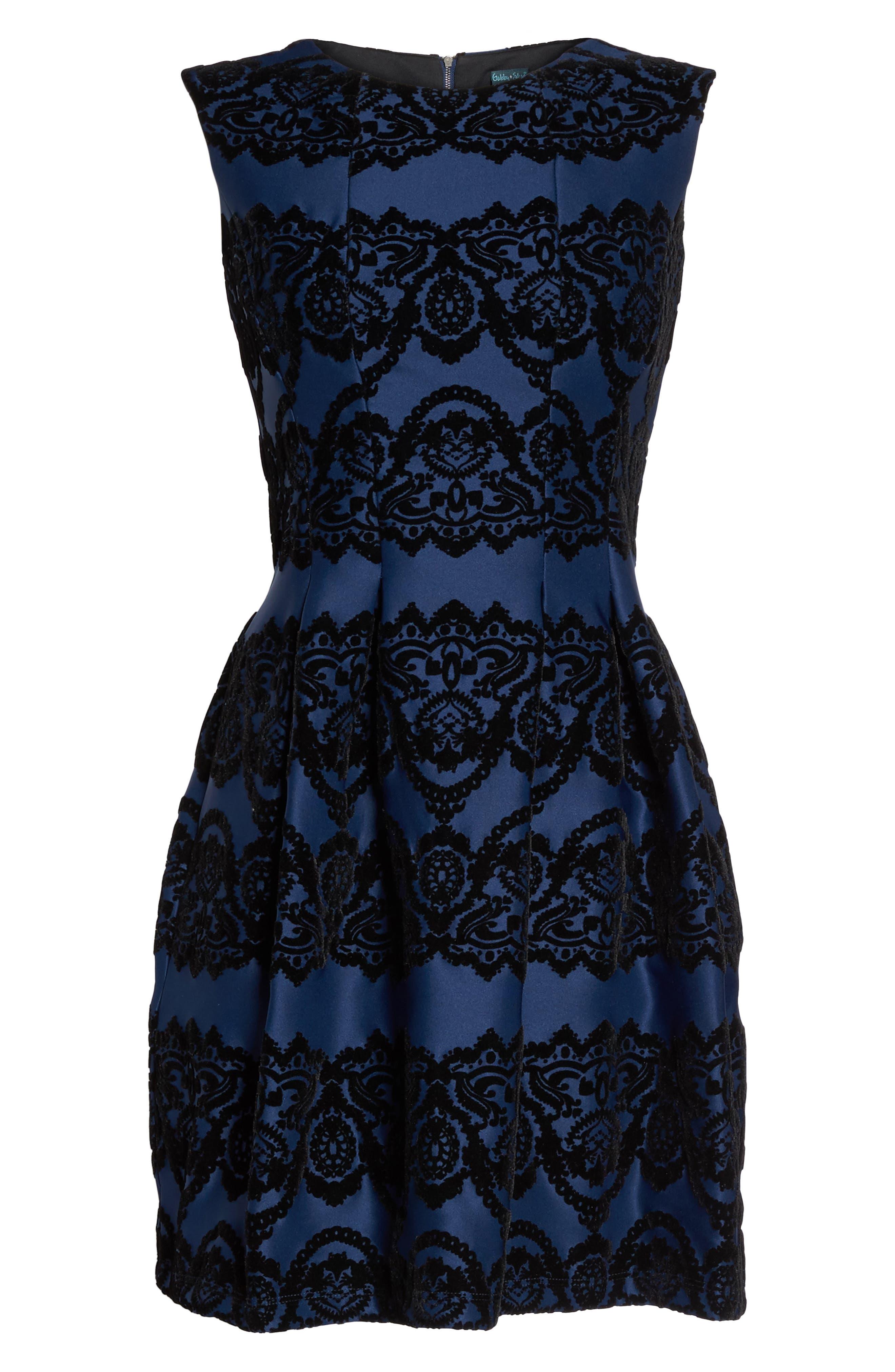 Scuba Fit & Flare Dress,                             Alternate thumbnail 6, color,                             410