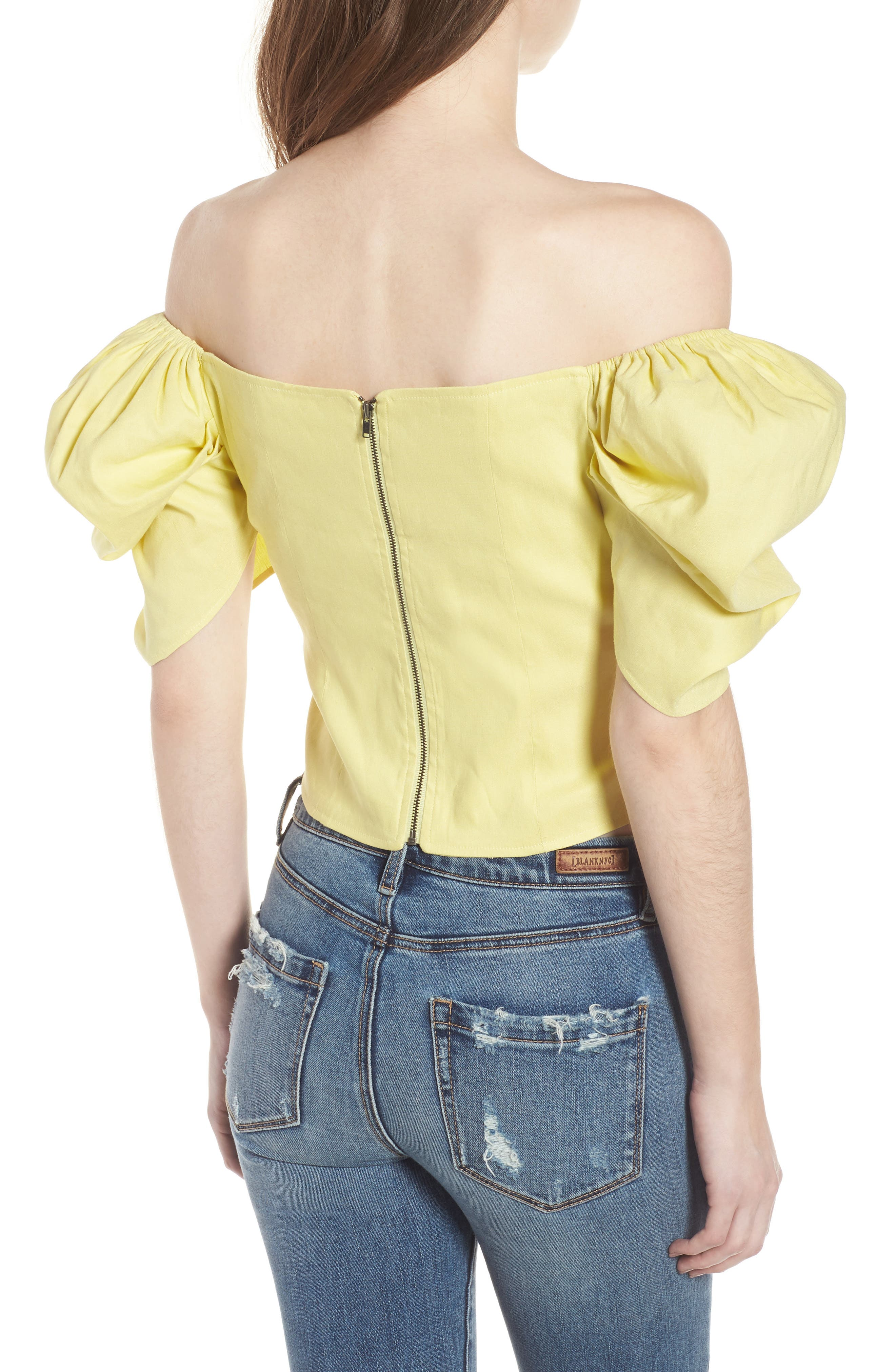 Off the Shoulder Top,                             Alternate thumbnail 2, color,                             YELLOW CANARY