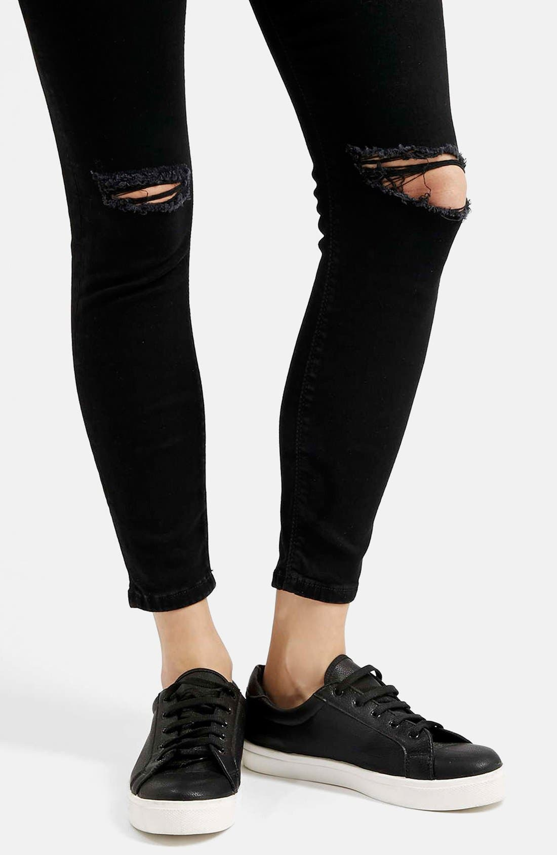 Moto 'Jamie' Ripped Skinny Jeans,                             Alternate thumbnail 3, color,                             001