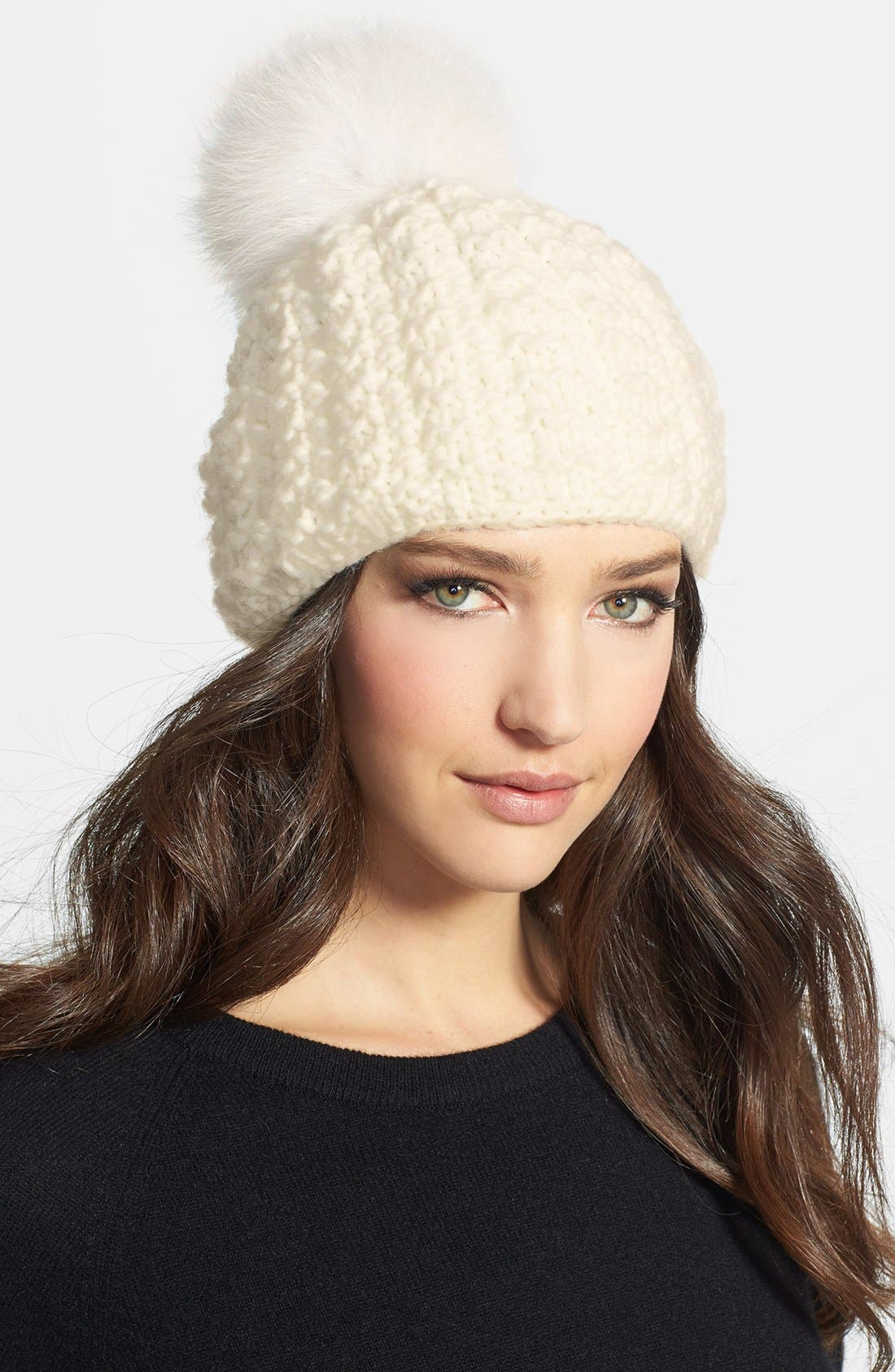 Genuine Fox Pompom Hat,                             Main thumbnail 5, color,