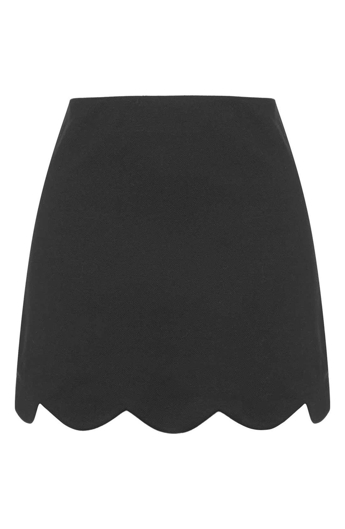 Scallop Hem Miniskirt,                             Alternate thumbnail 5, color,                             001