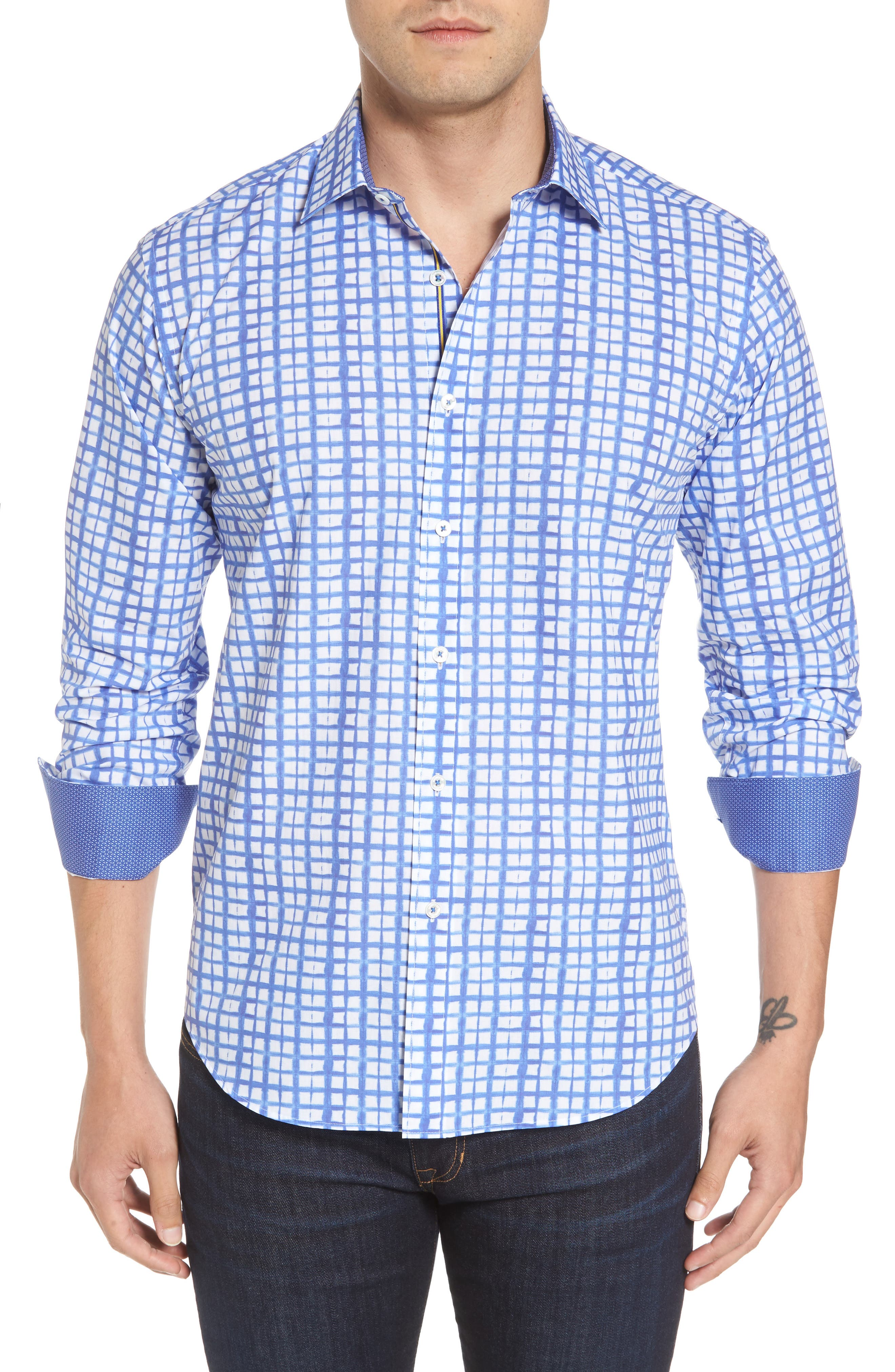 Shaped Fit Check Sport Shirt,                             Main thumbnail 1, color,                             422
