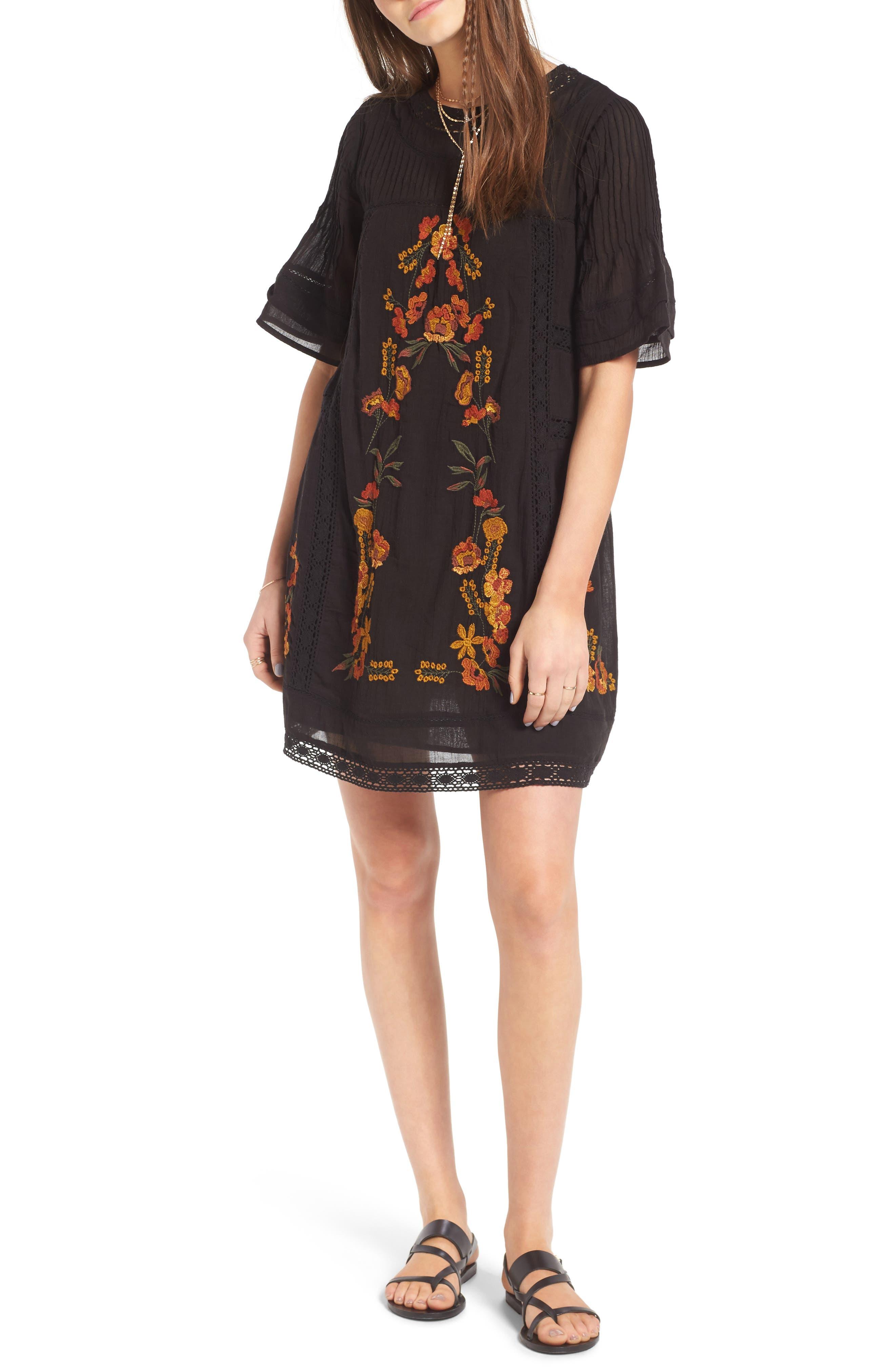 'Perfectly Victorian' Minidress,                             Main thumbnail 1, color,                             BLACK COMBO