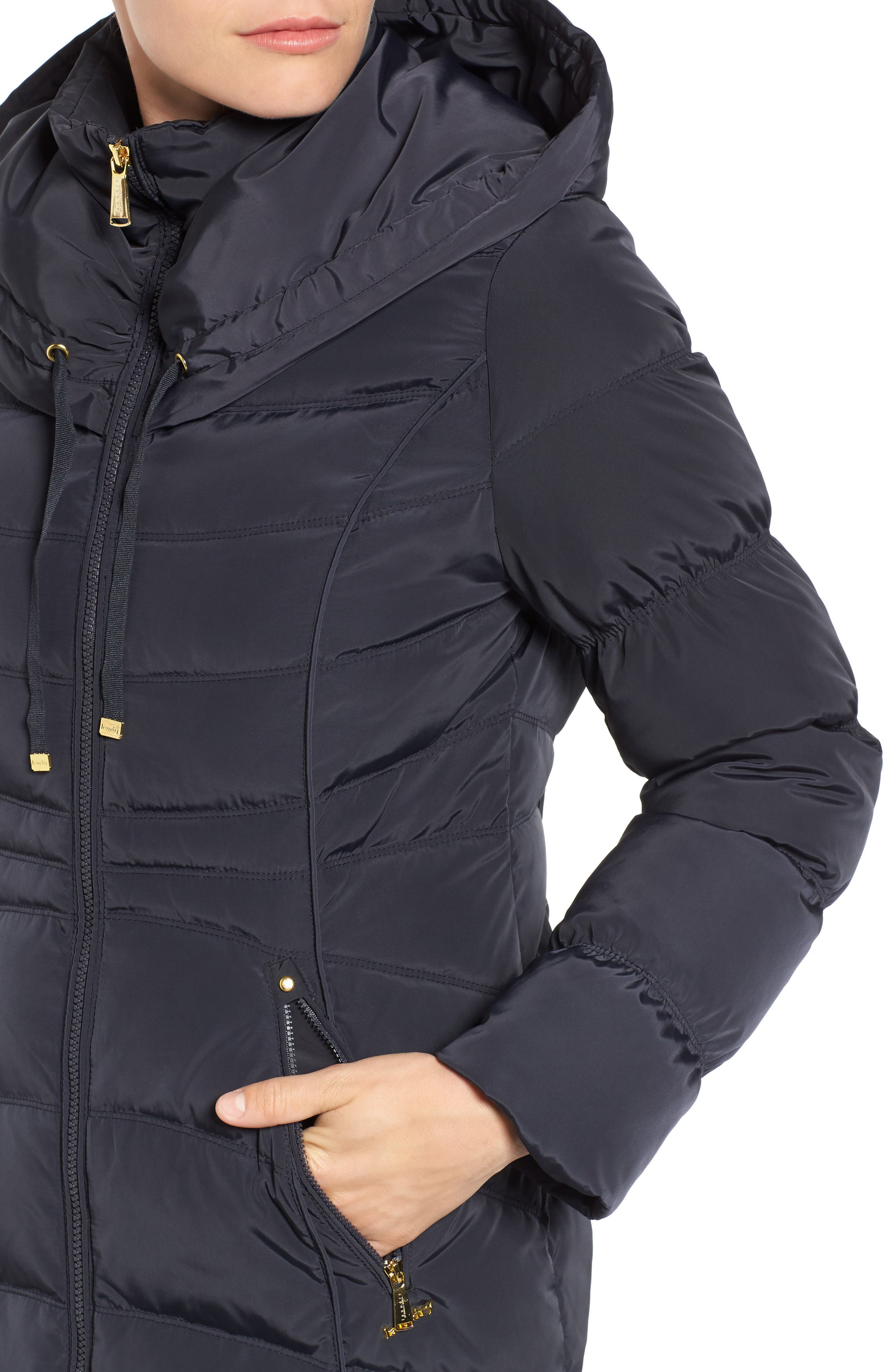 Hooded Down & Feather Fill Coat with Detachable Faux Fur Trim,                             Alternate thumbnail 4, color,                             454
