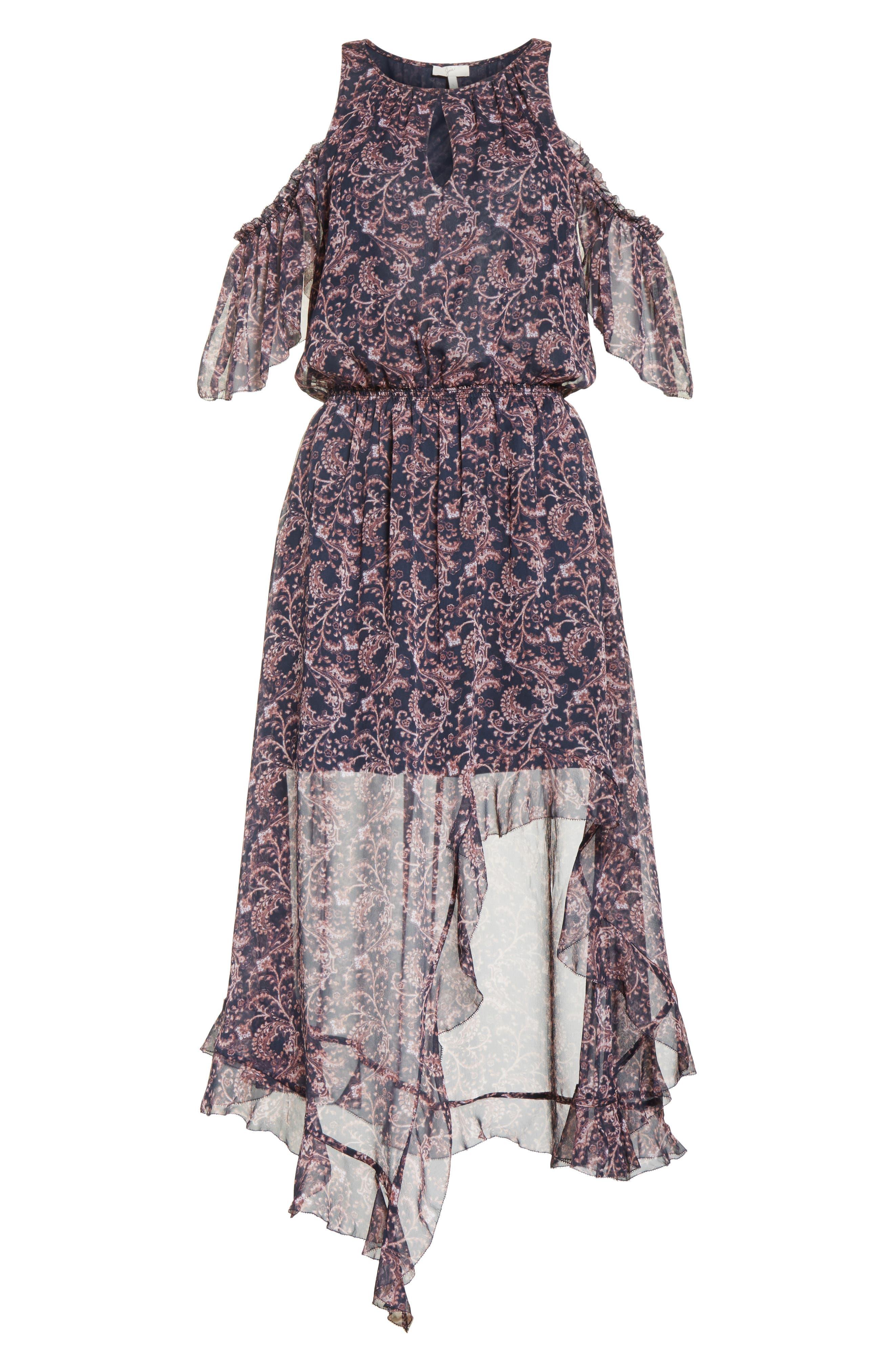 Agnek Cold Shoulder Silk Dress,                             Alternate thumbnail 6, color,                             694