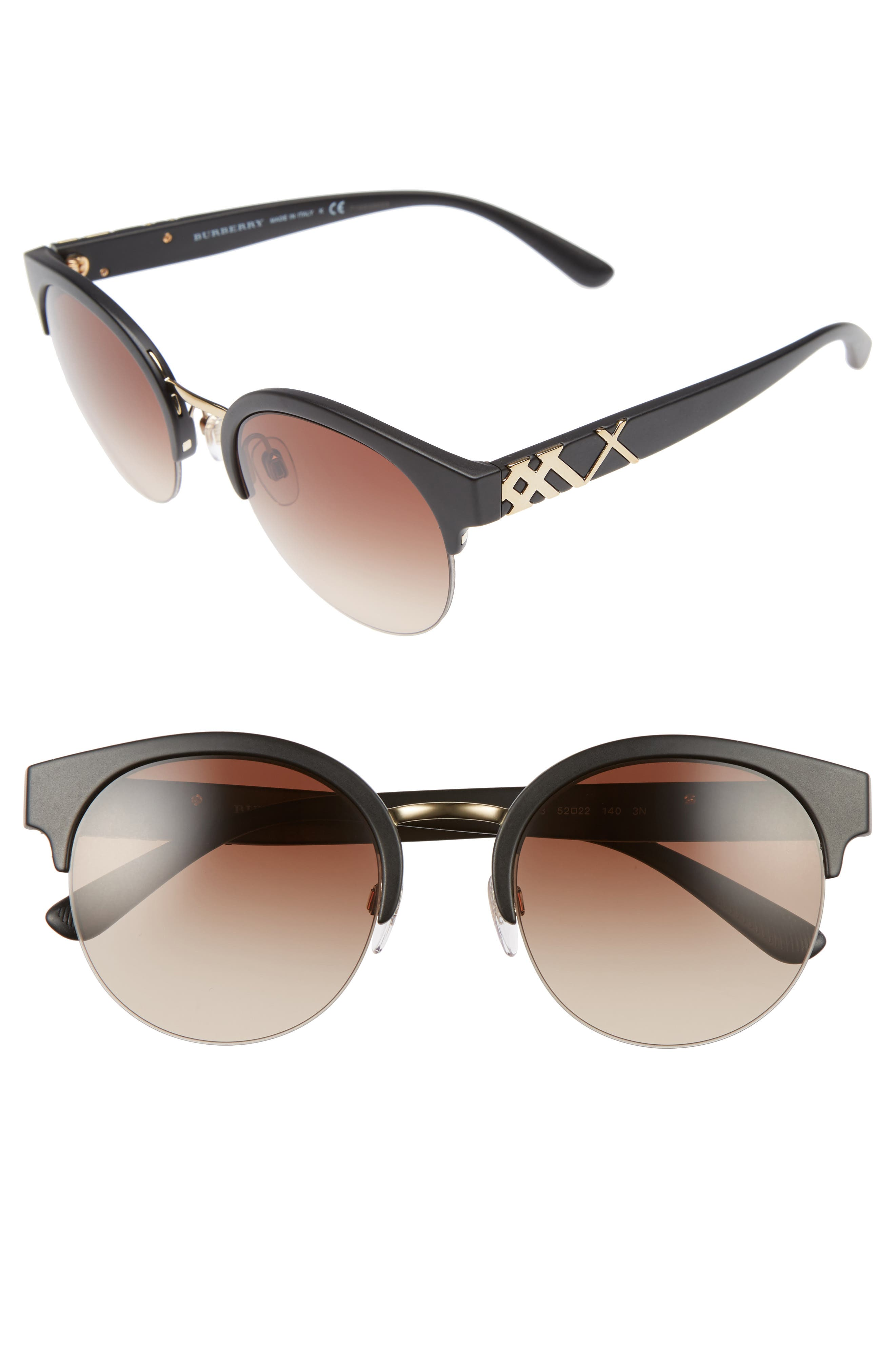 52mm Gradient Semi Rimless Sunglasses,                         Main,                         color,