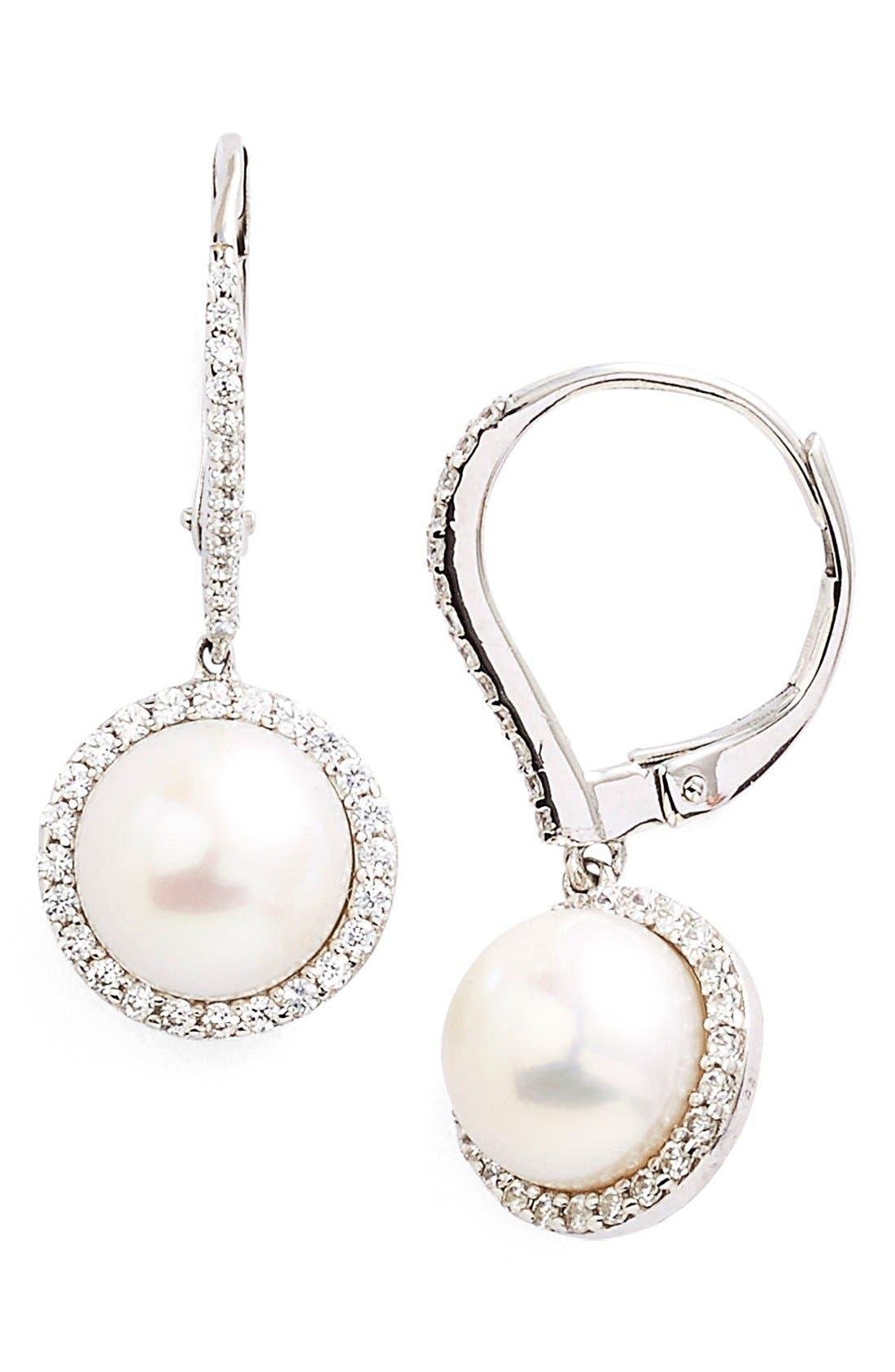 'Lassaire' Pearl Drop Earrings,                             Main thumbnail 1, color,                             SILVER/ CLEAR