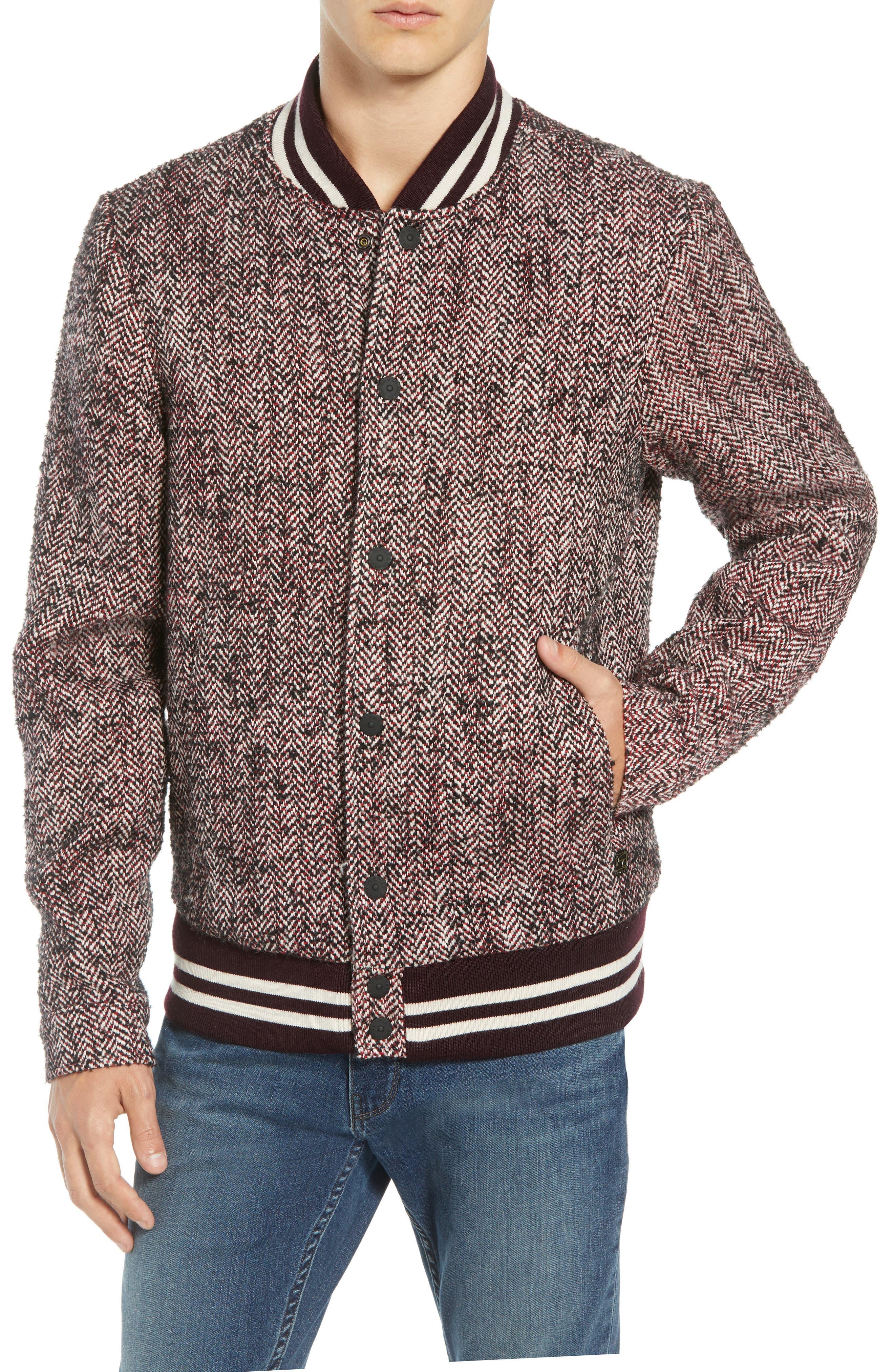 Herringbone Varsity Jacket,                             Alternate thumbnail 4, color,                             COMBO A