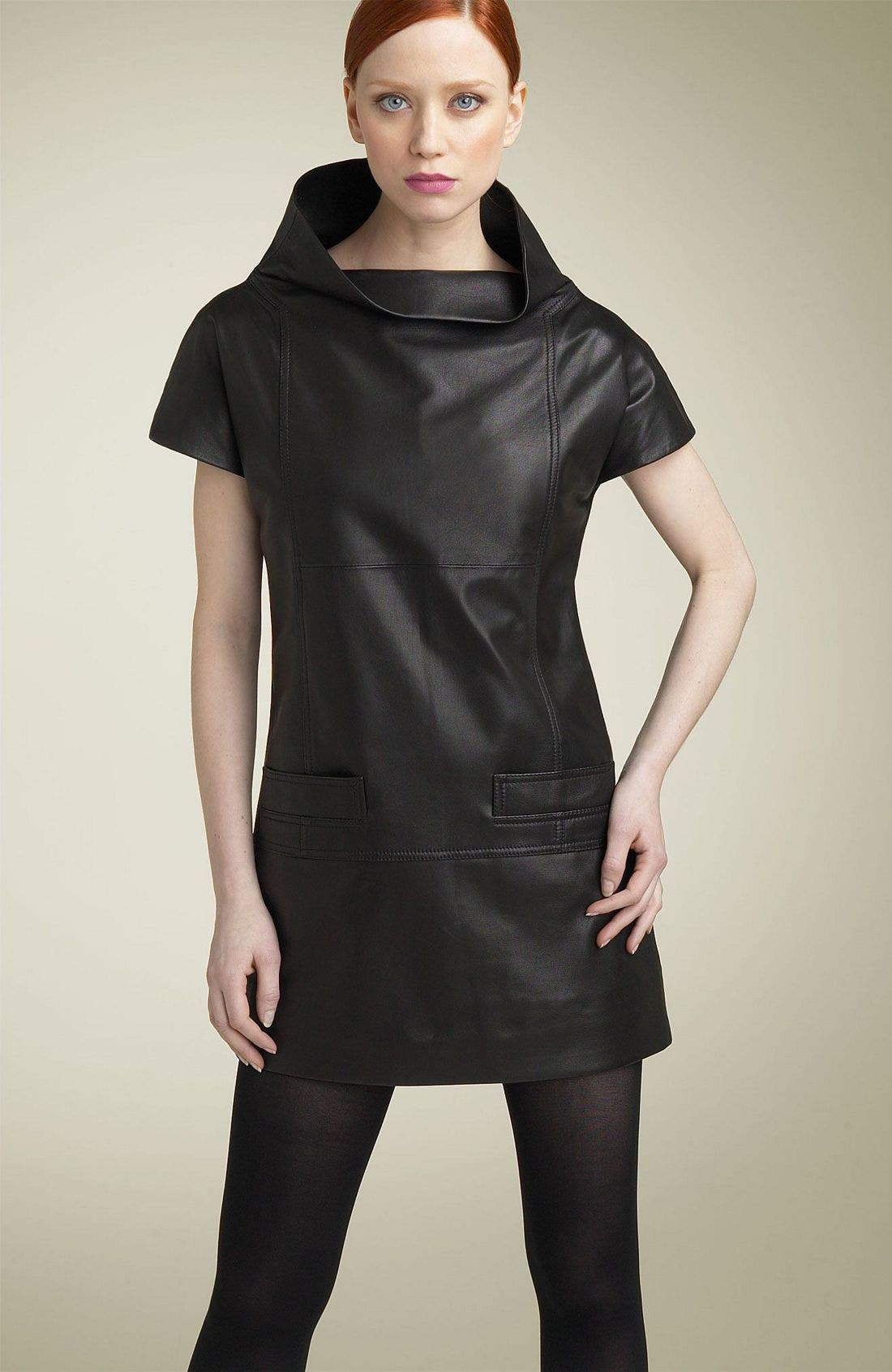 MARC BY MARC JACOBS,                             Leather Funnel Neck Minidress,                             Main thumbnail 1, color,                             001