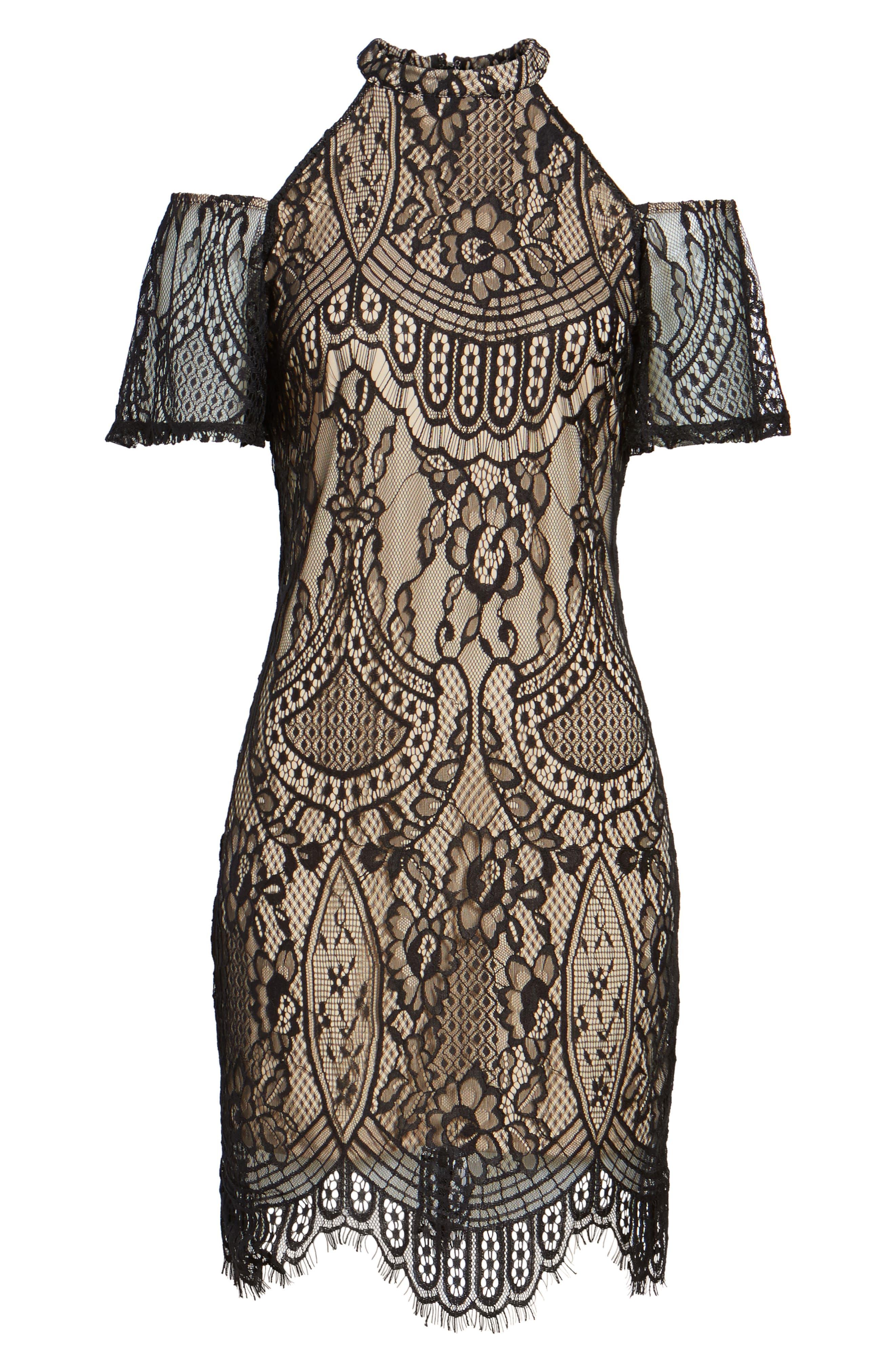 Lace Cold Shoulder Dress,                             Alternate thumbnail 6, color,                             002