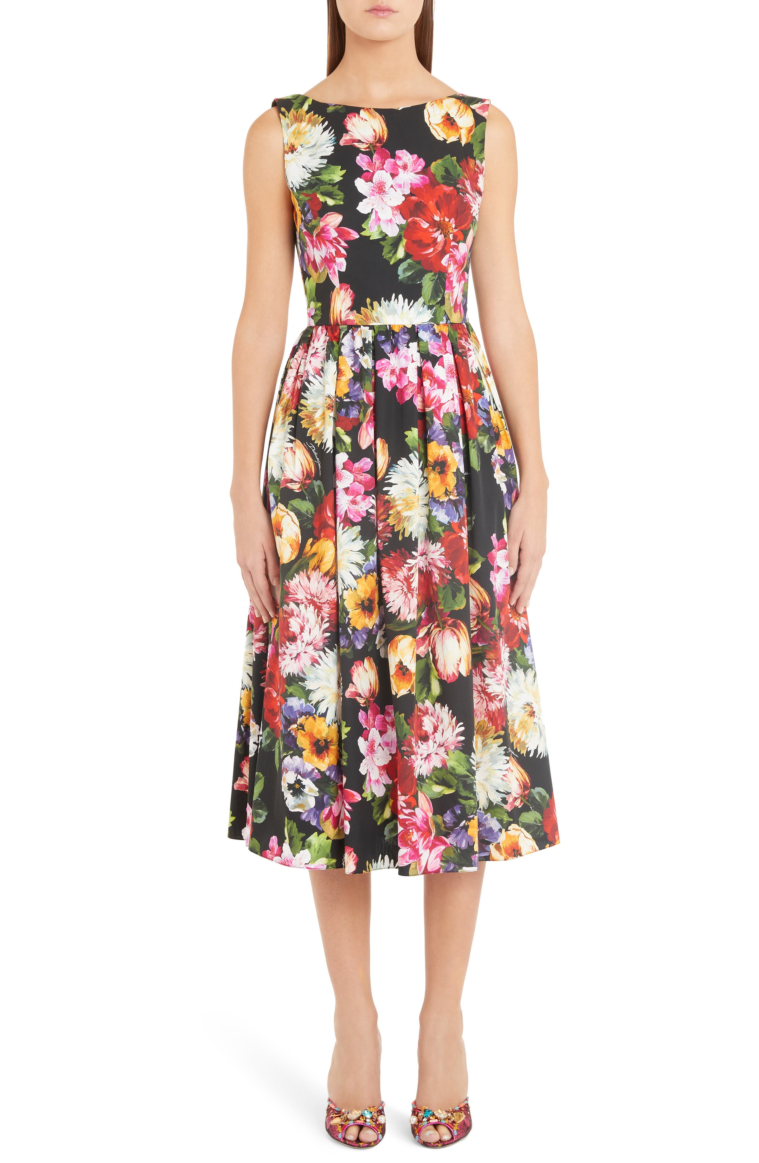 Dolce & gabbana Floral Print A-Line Midi Dress, US / 44 IT - Black