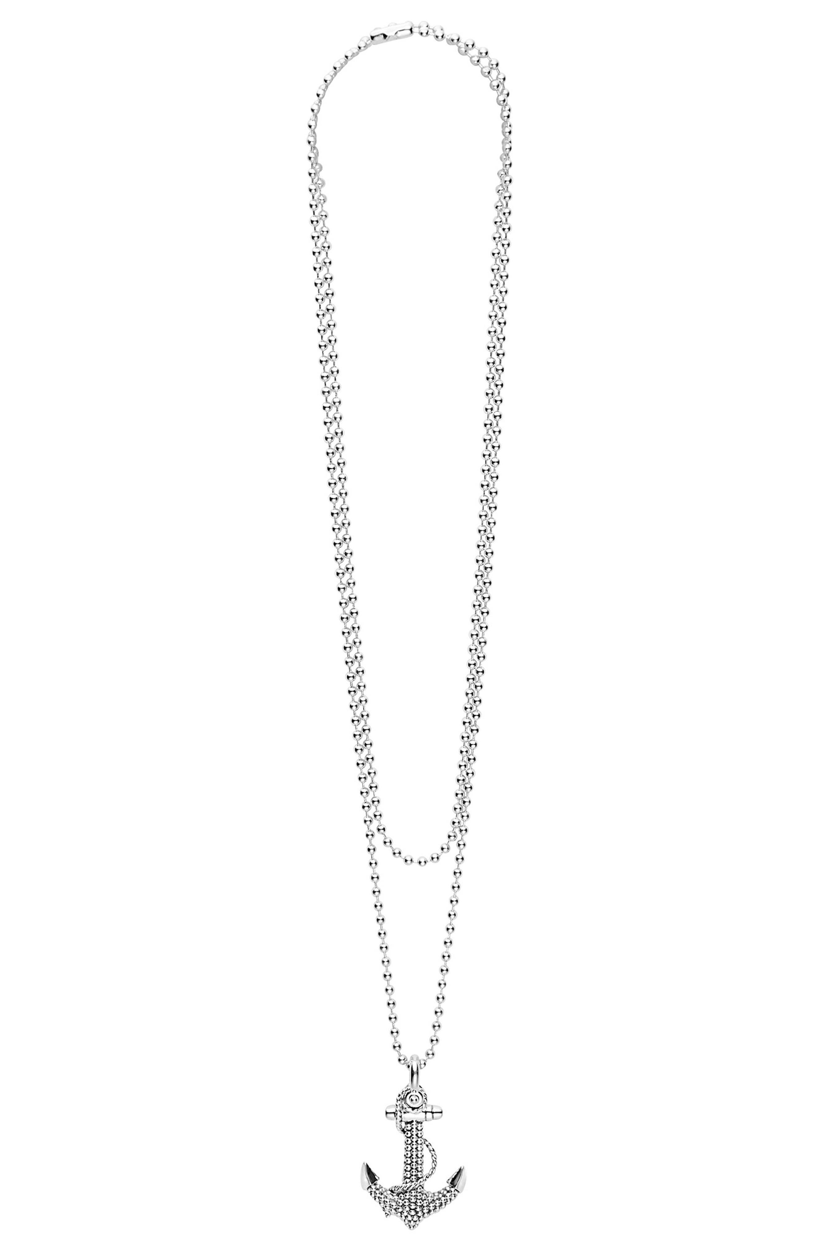 Signature Caviar Anchor Pendant Necklace,                             Alternate thumbnail 3, color,                             SILVER