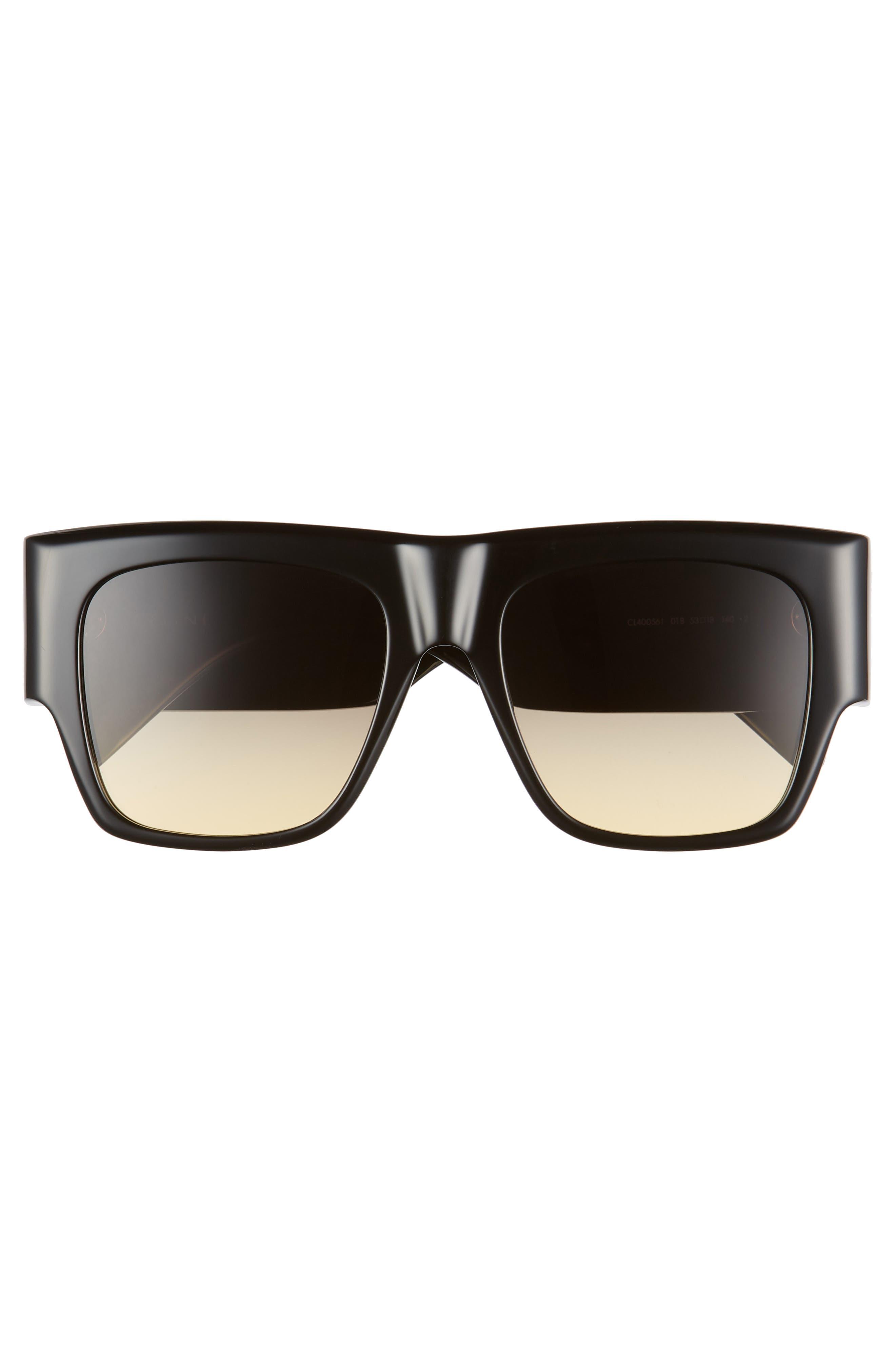 Céline 56mm Special Fit Gradient Flat Top Sunglasses,                             Alternate thumbnail 3, color,                             001