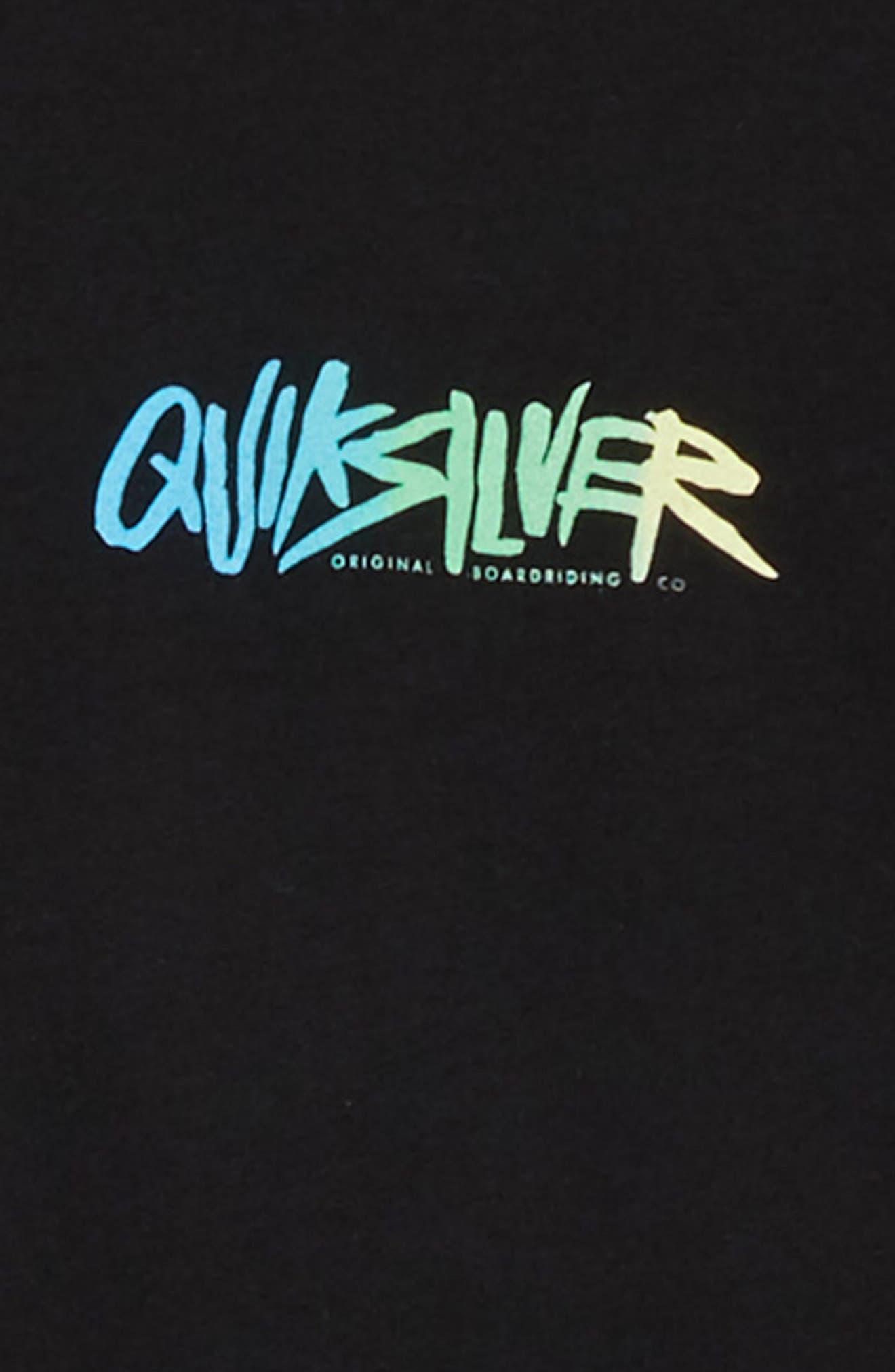 Rough Script Graphic T-Shirt,                             Alternate thumbnail 3, color,                             BLACK
