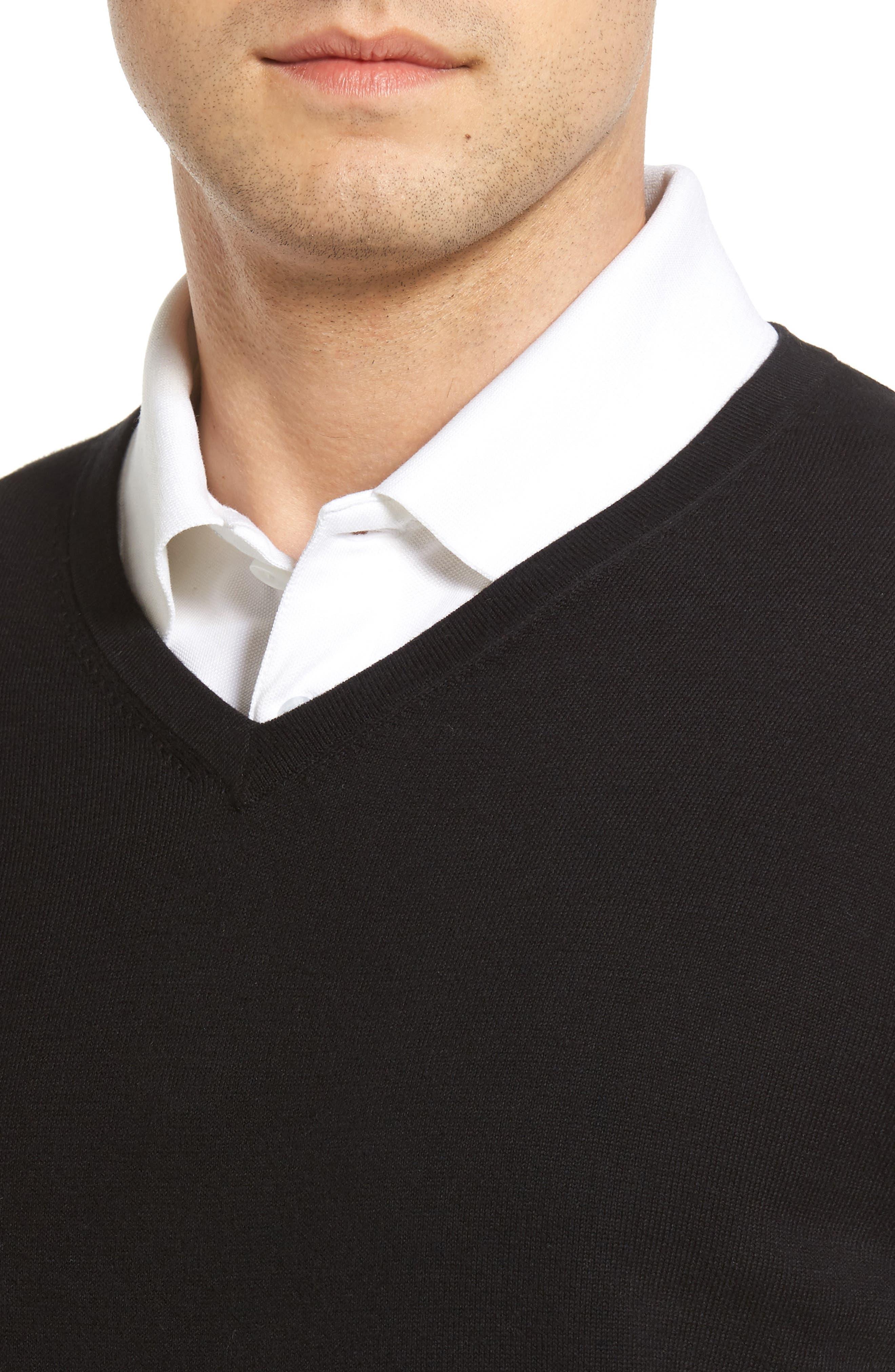 Lakemont V-Neck Sweater,                             Alternate thumbnail 4, color,                             BLACK