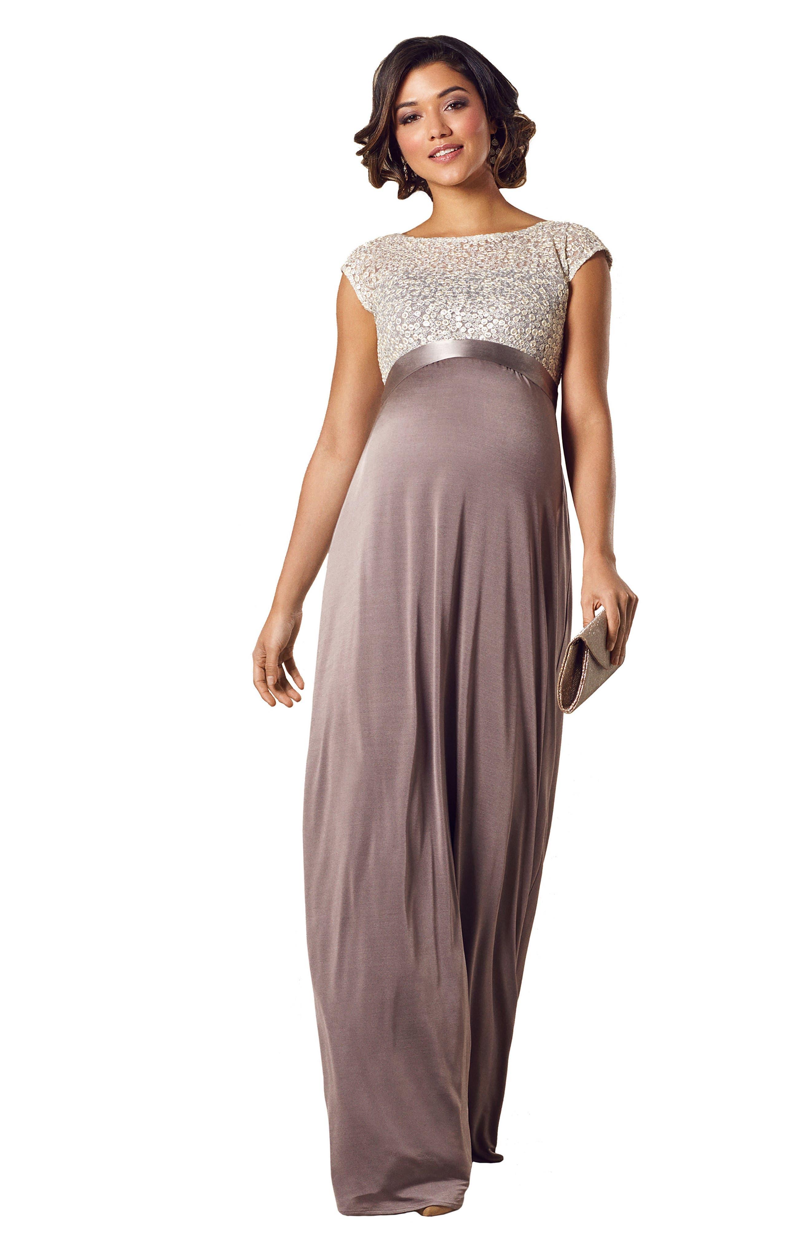 Mia Maternity Gown,                             Alternate thumbnail 4, color,                             DUSKY TRUFFLE