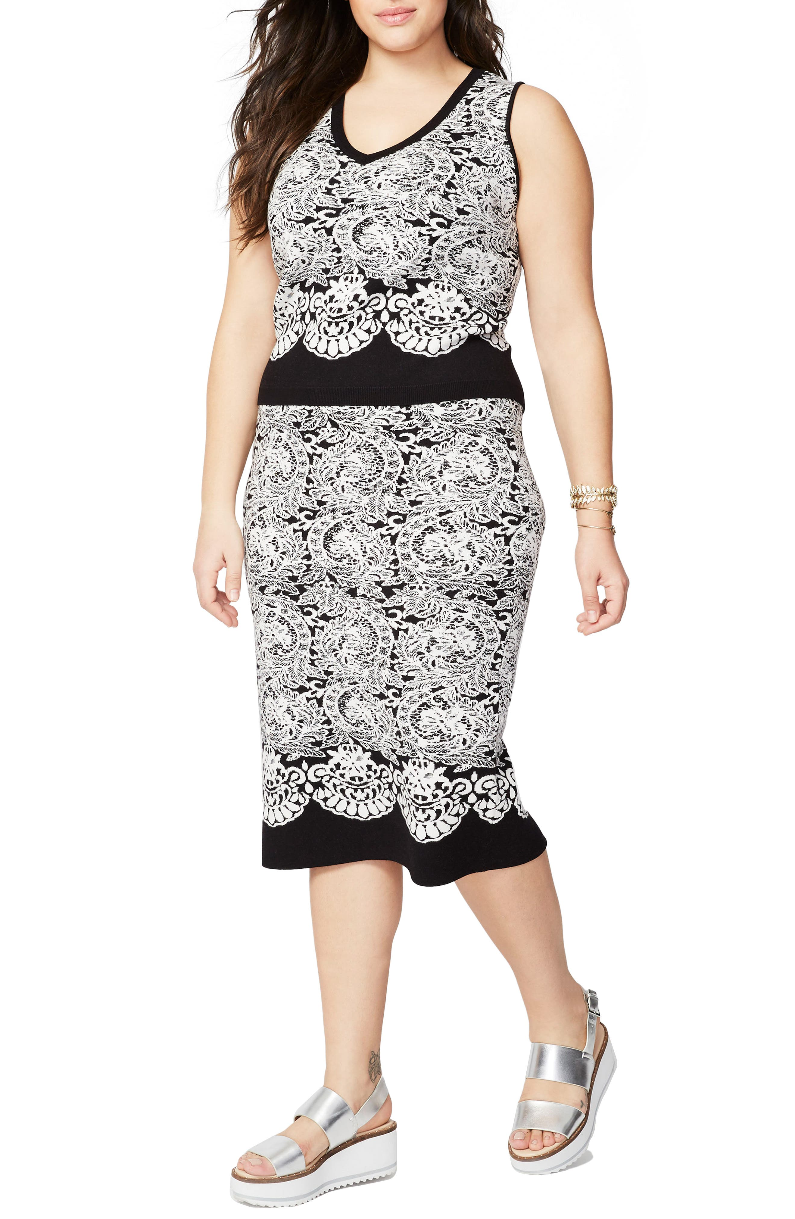 Rachel Roy Fitted Jacquard Sweater,                         Main,                         color, 001