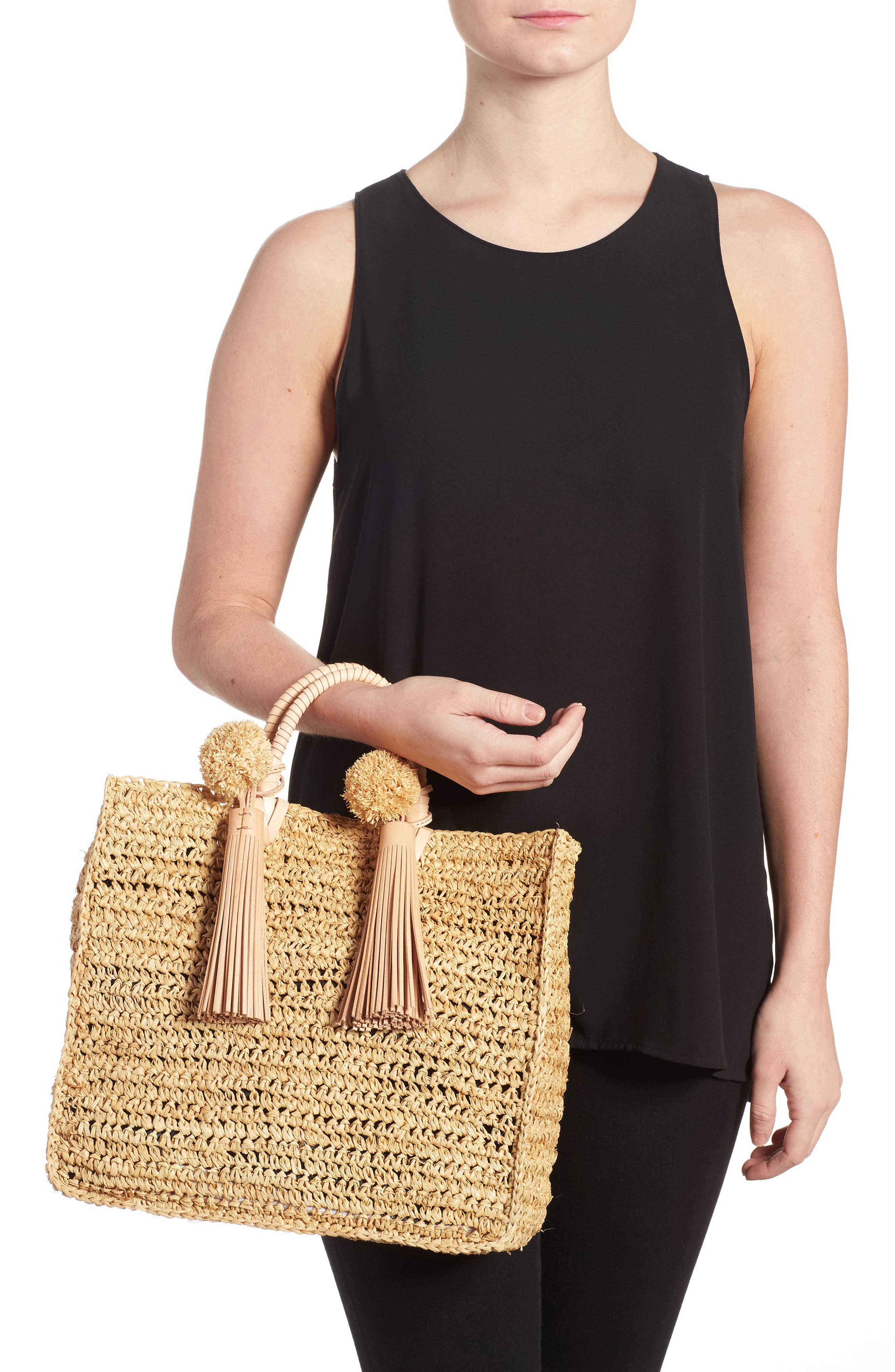 Straw Travel Tote,                             Alternate thumbnail 2, color,                             107
