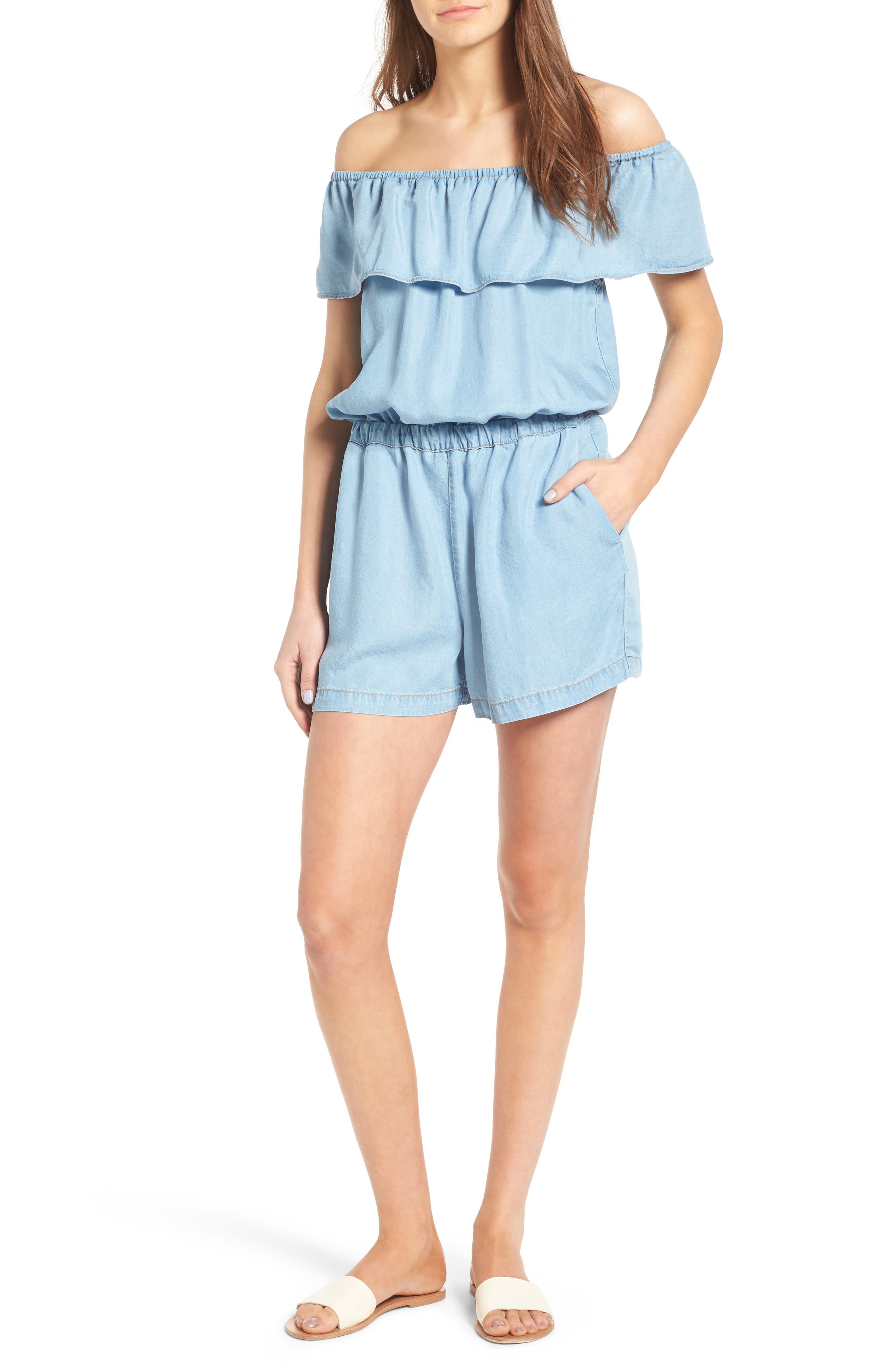 Off the Shoulder Chambray Romper,                             Main thumbnail 2, color,
