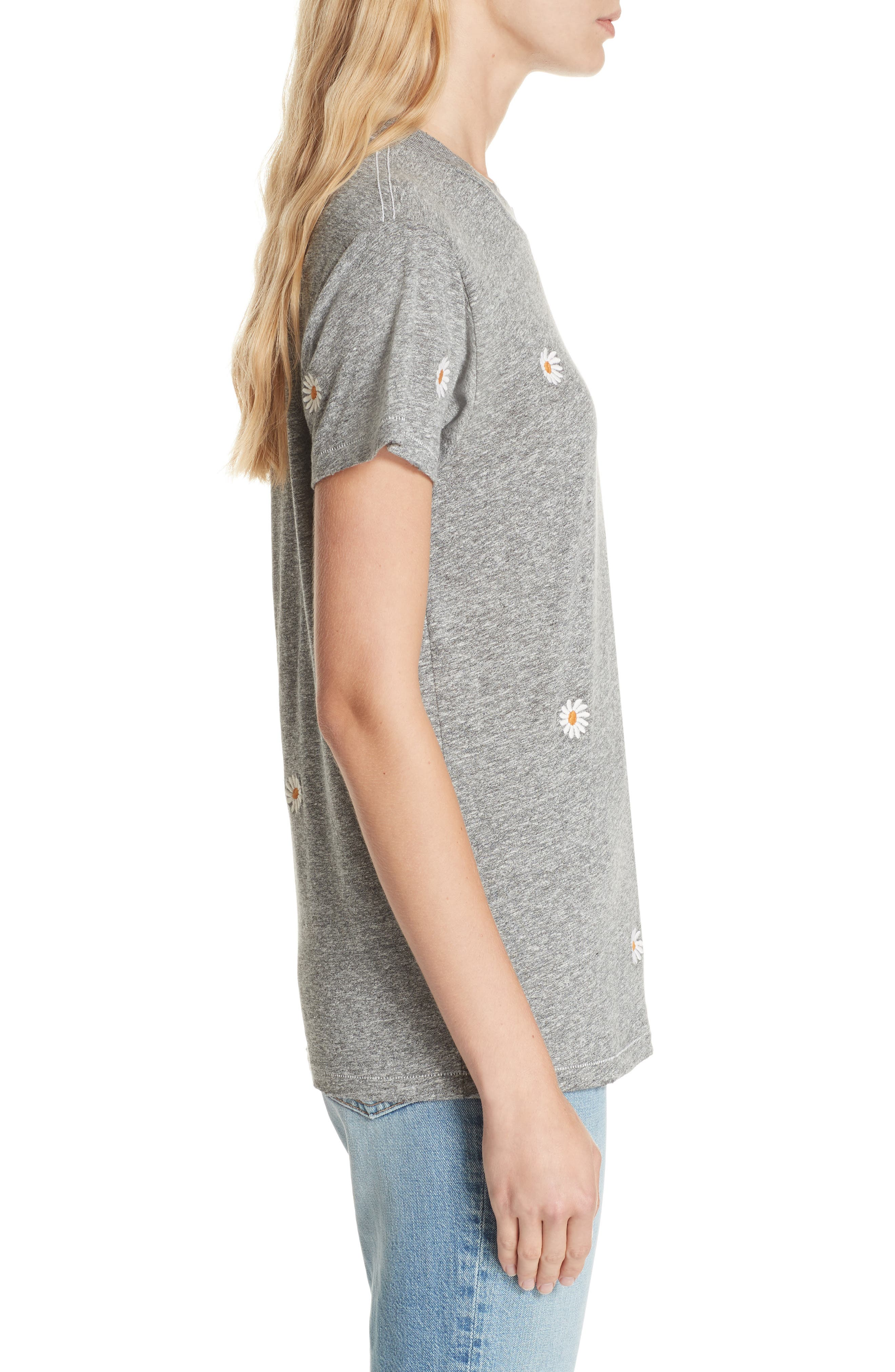 The Embroidered Slim Tee,                             Alternate thumbnail 3, color,                             HEATHER GREY W/ DAISY EMB