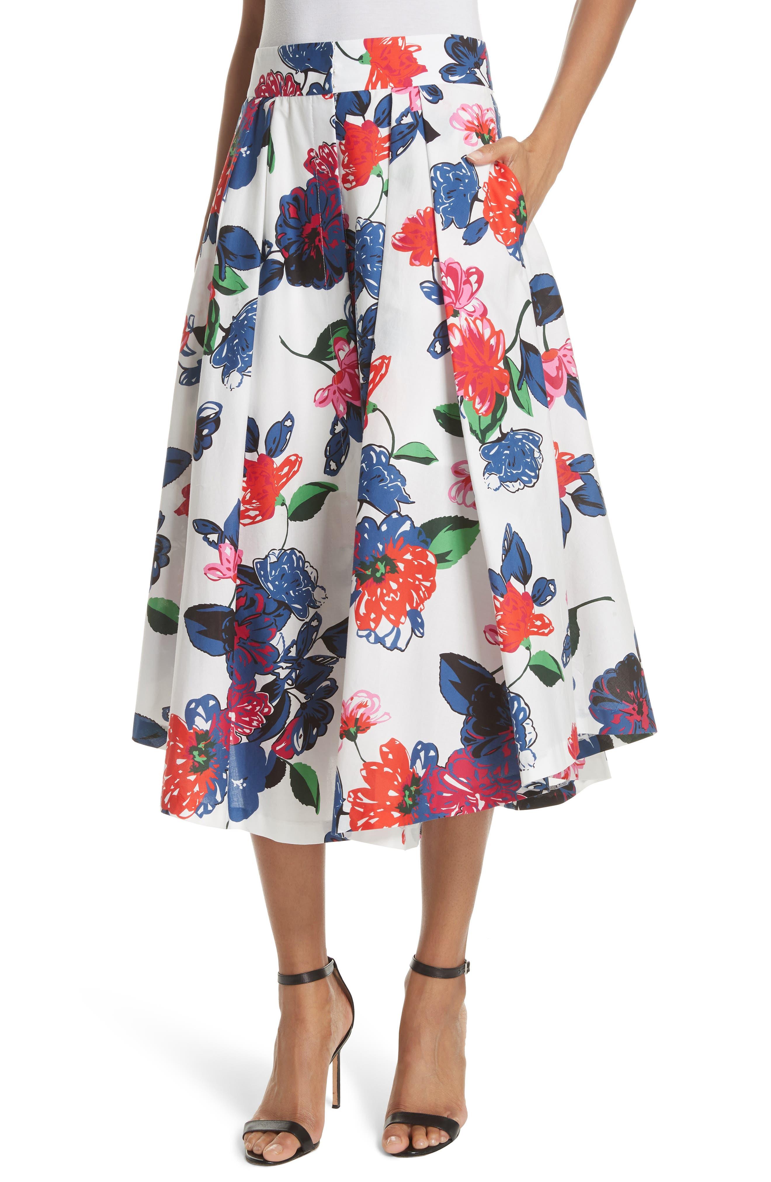 Floral Print Stretch Cotton Skirt,                         Main,                         color, 164