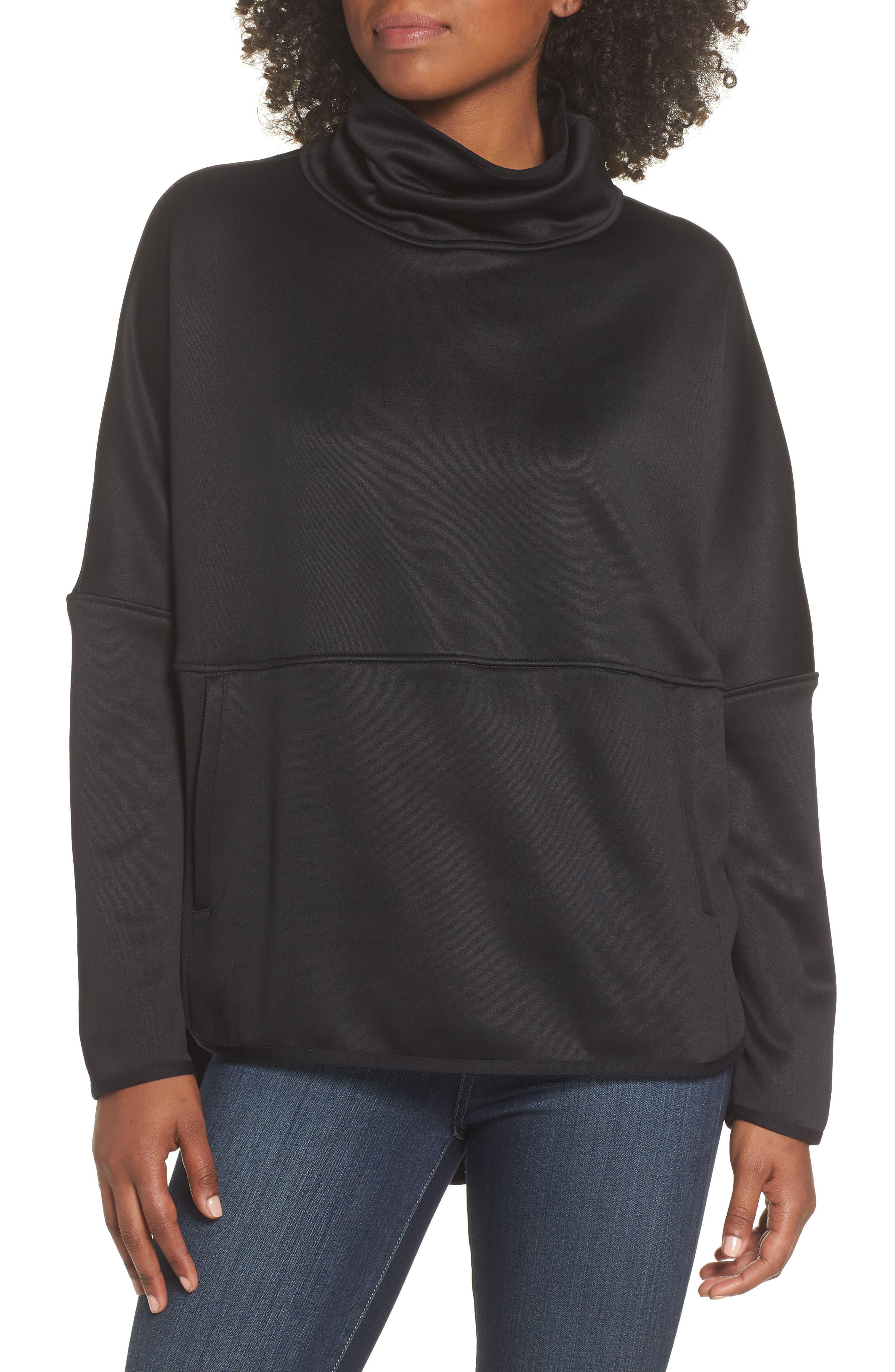 Cozy Slacker Poncho Top,                         Main,                         color, TNF BLACK