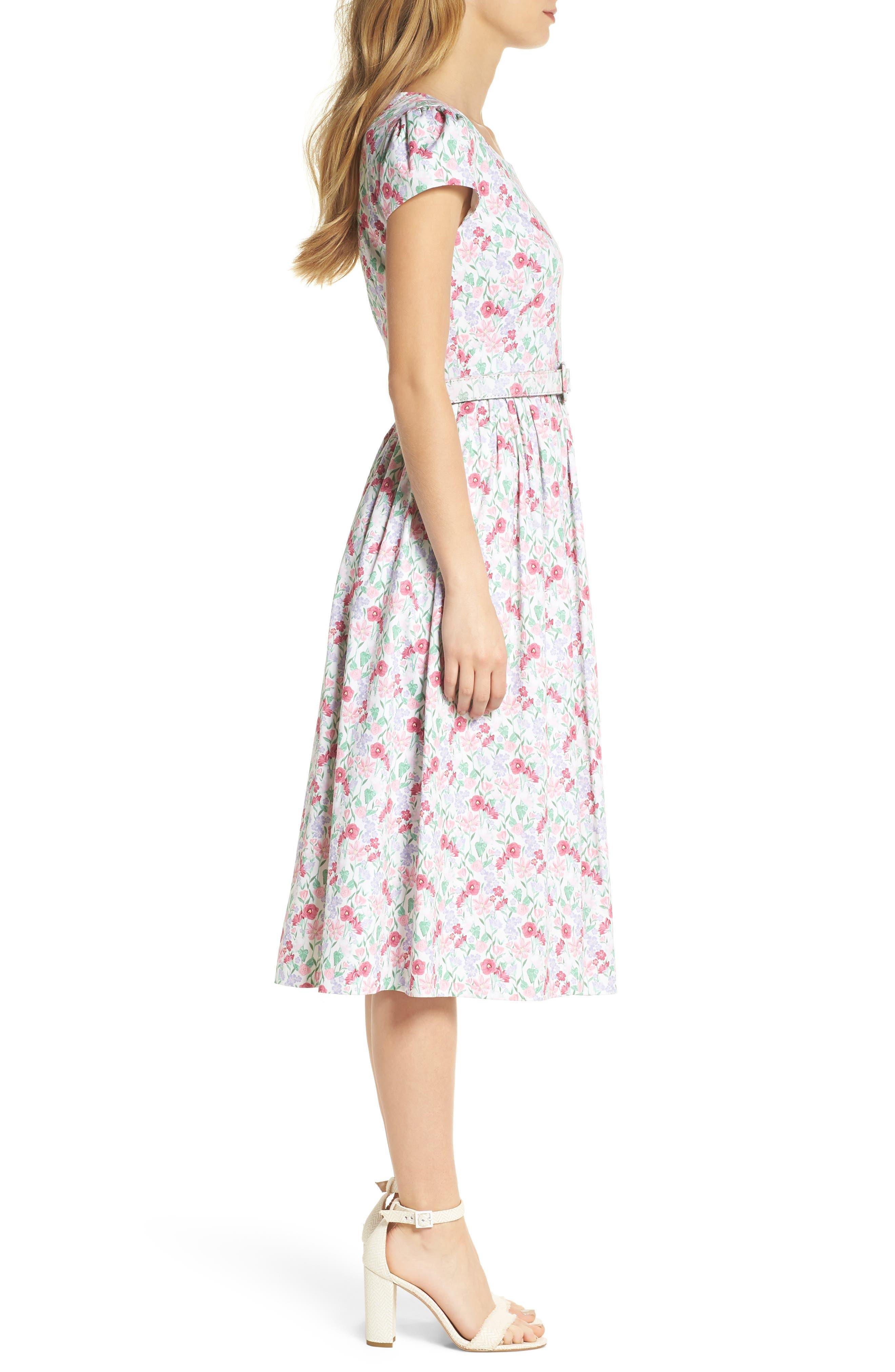 Packed Bouquet Print Stretch Cotton Dress,                             Alternate thumbnail 3, color,                             650