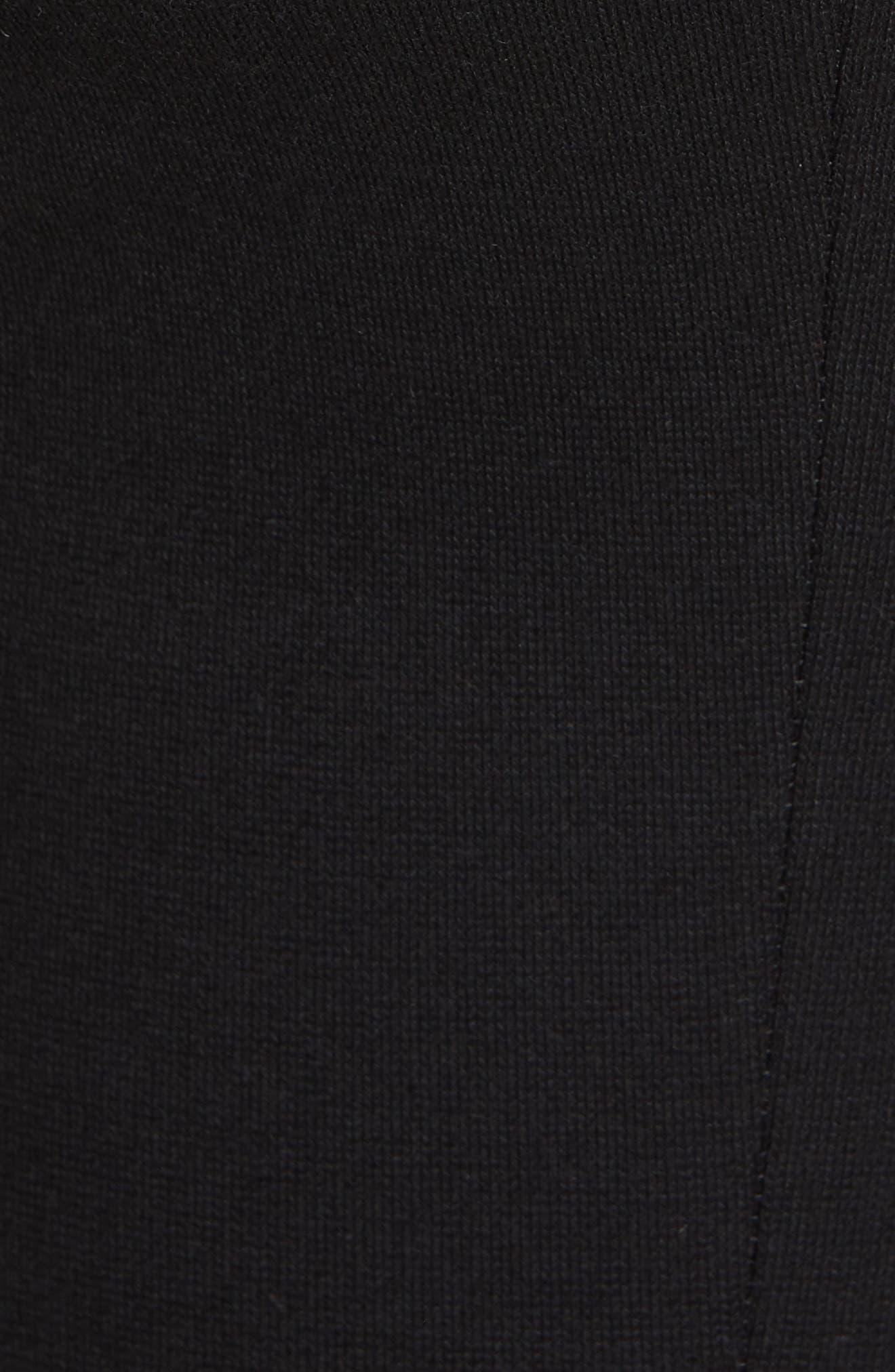 Crop Flare Jersey Pants,                             Alternate thumbnail 5, color,                             BLACK