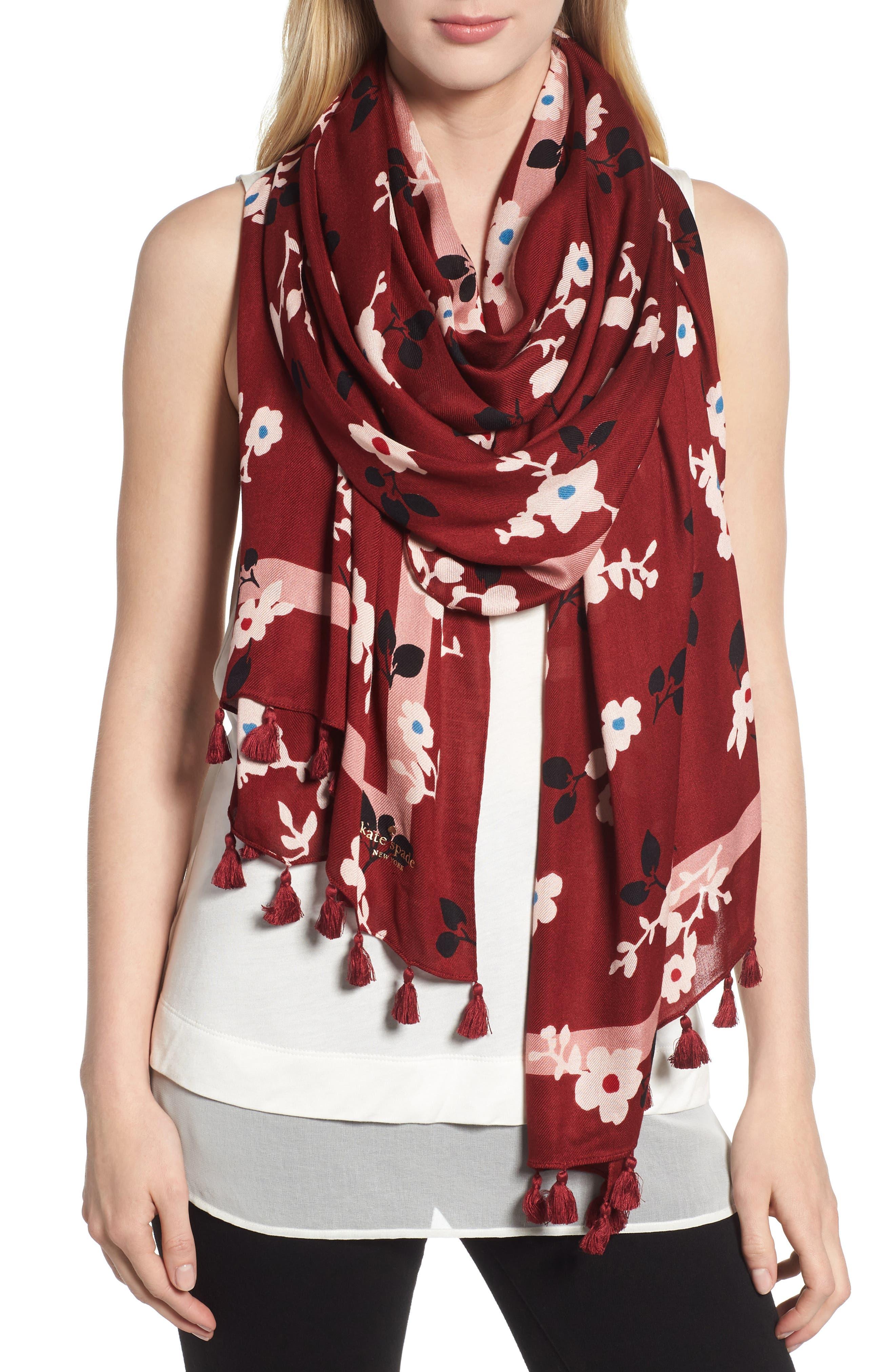 camellia scarf,                             Main thumbnail 1, color,                             DEEP RUSSET