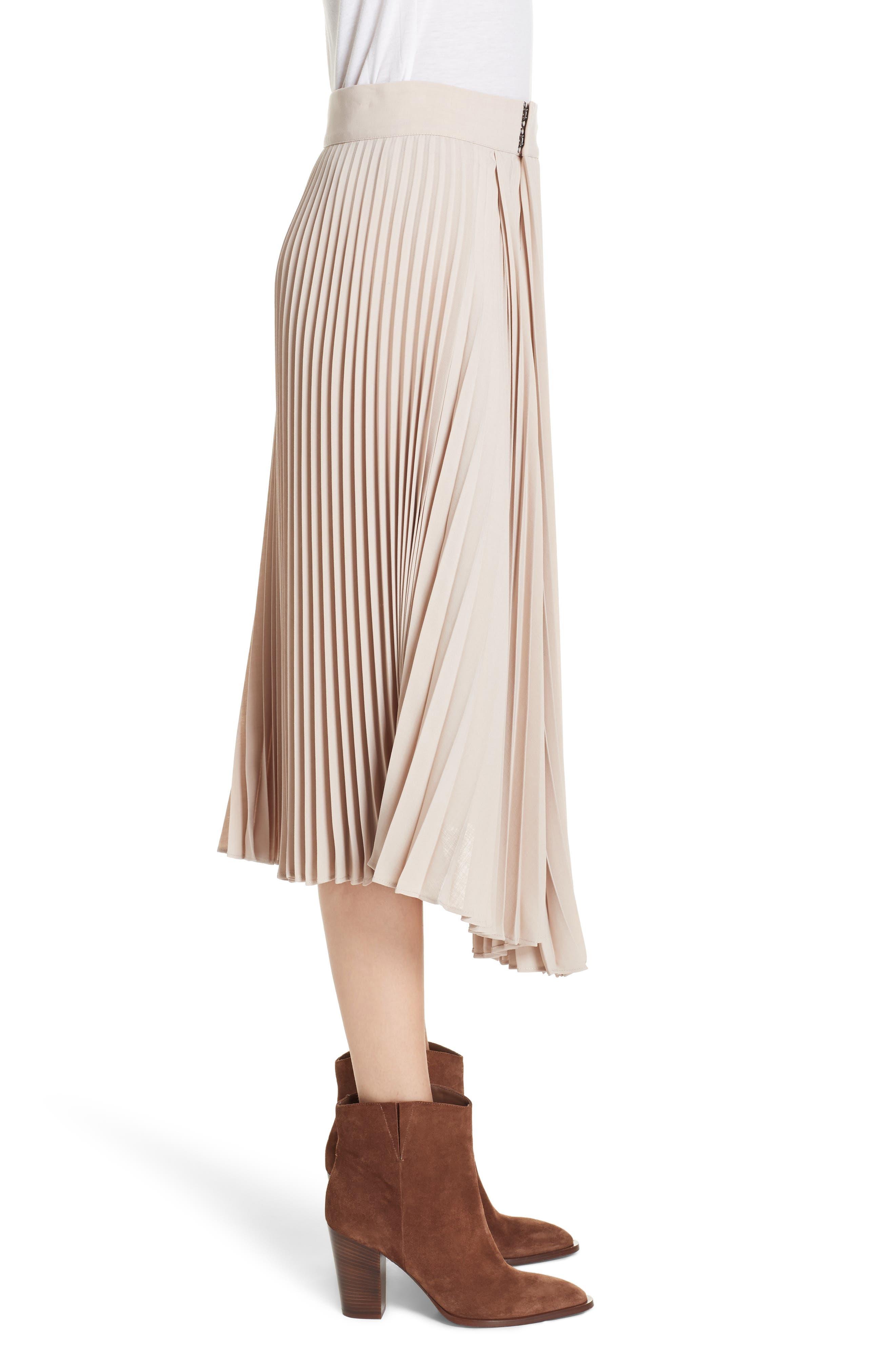 Asymmetric Hem Pleated Skirt,                             Alternate thumbnail 3, color,                             STONEWARE