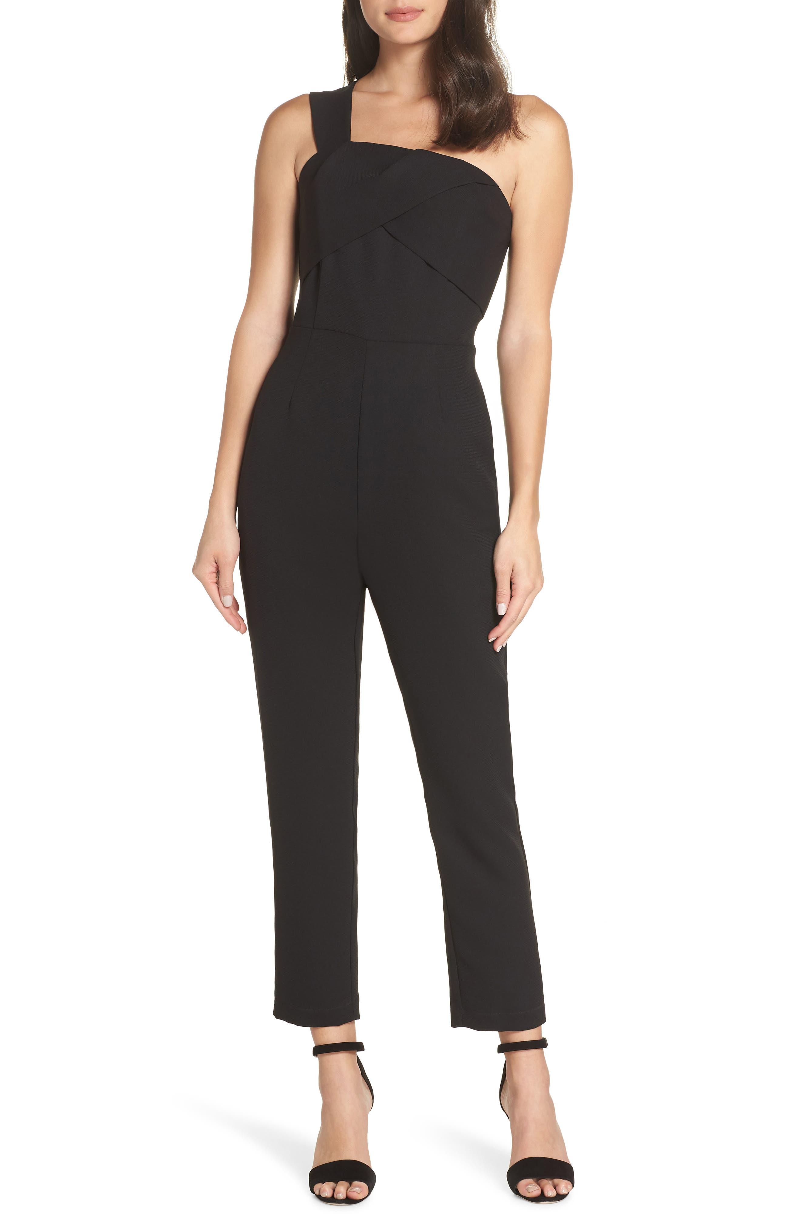 ADELYN RAE Adria One-Shoulder Jumpsuit in Black
